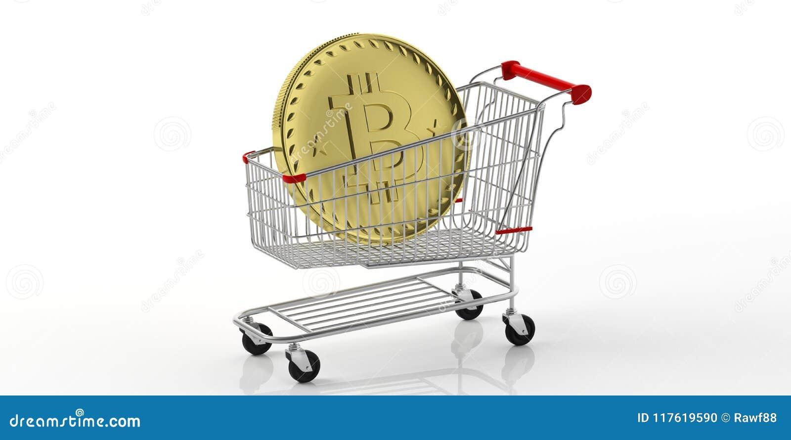 在购物车的金黄bitcoin,隔绝在白色背景 3d例证