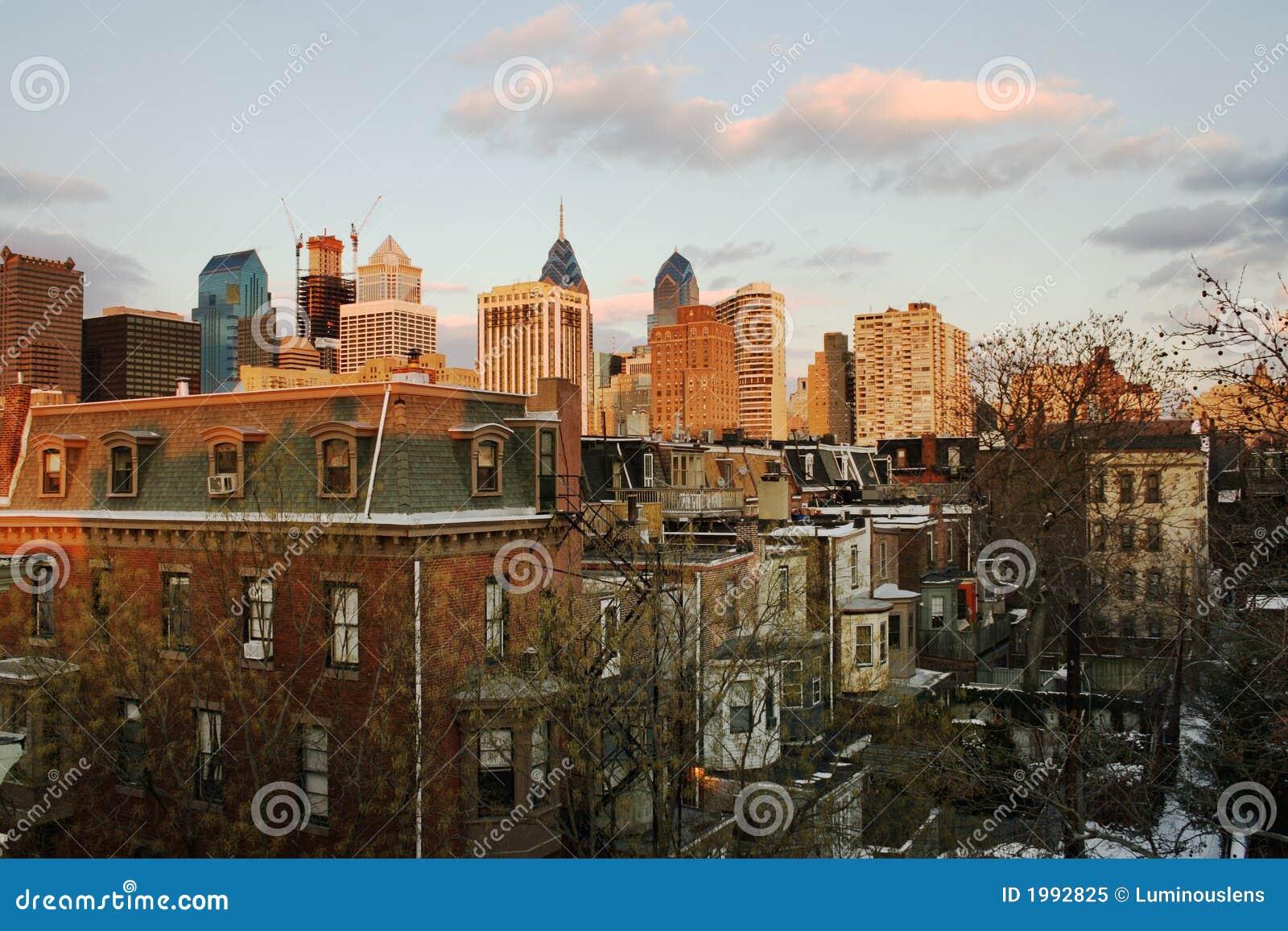 在费城日落的街市