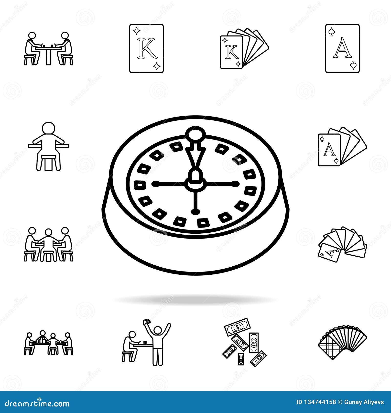 在赌博娱乐场象的轮盘赌 详细的概述套赌博娱乐场元素象 优质图形设计 其中一个汇集象为