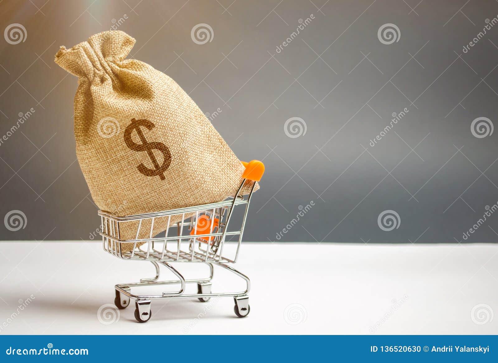 在超级市场台车和美元的符号的金钱袋子 货币管理 金融市场 销售、折扣和低价 礼券
