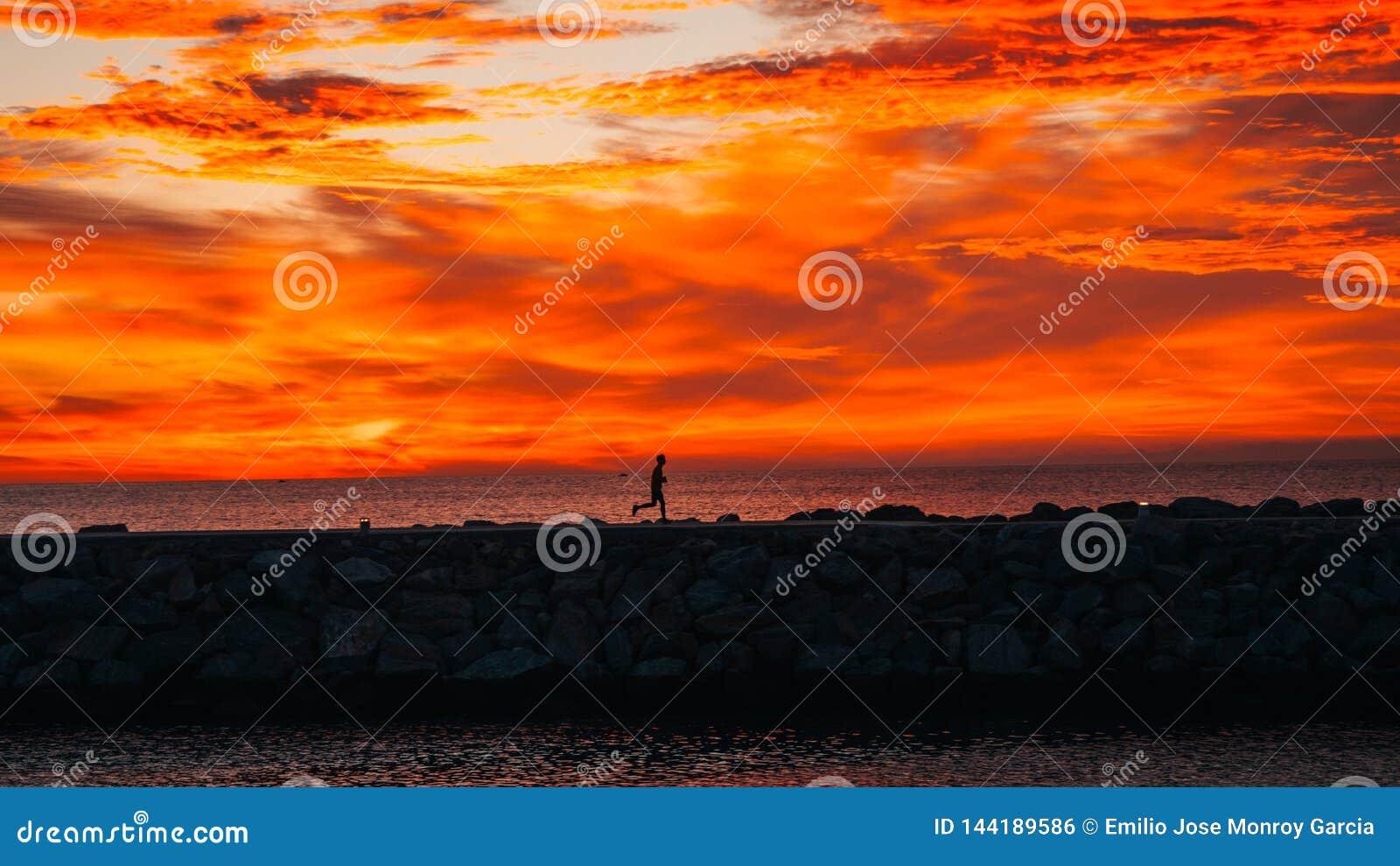 在跑在海旁边的日出的赛跑者