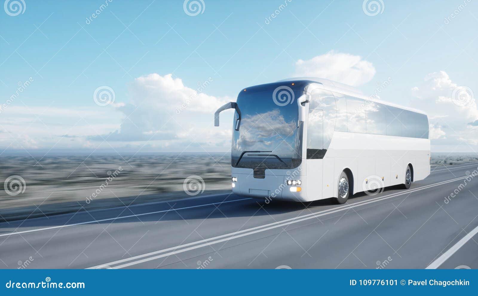 在路的旅游白色公共汽车,高速公路 非常快速驾驶 o 3d翻译
