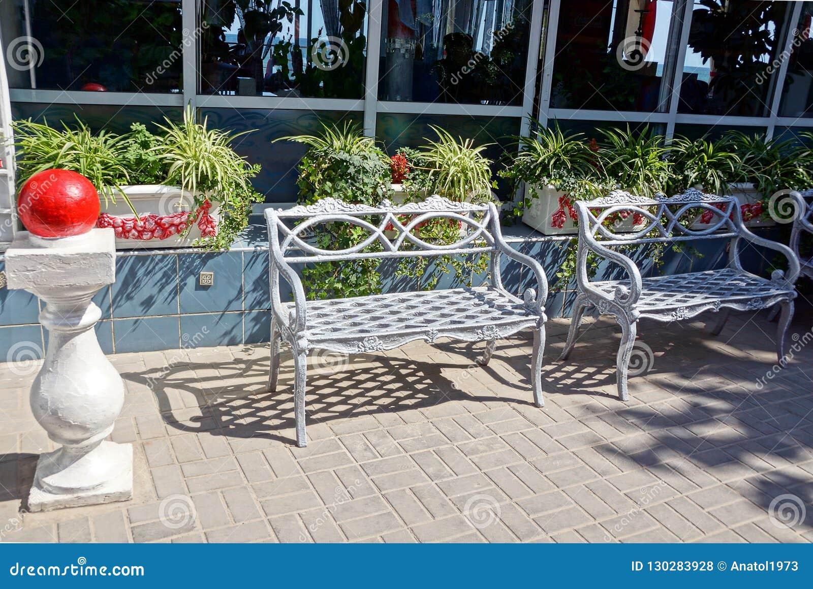 在边路的两条灰色金属长凳对有窗口和花盆的墙壁与植物和花