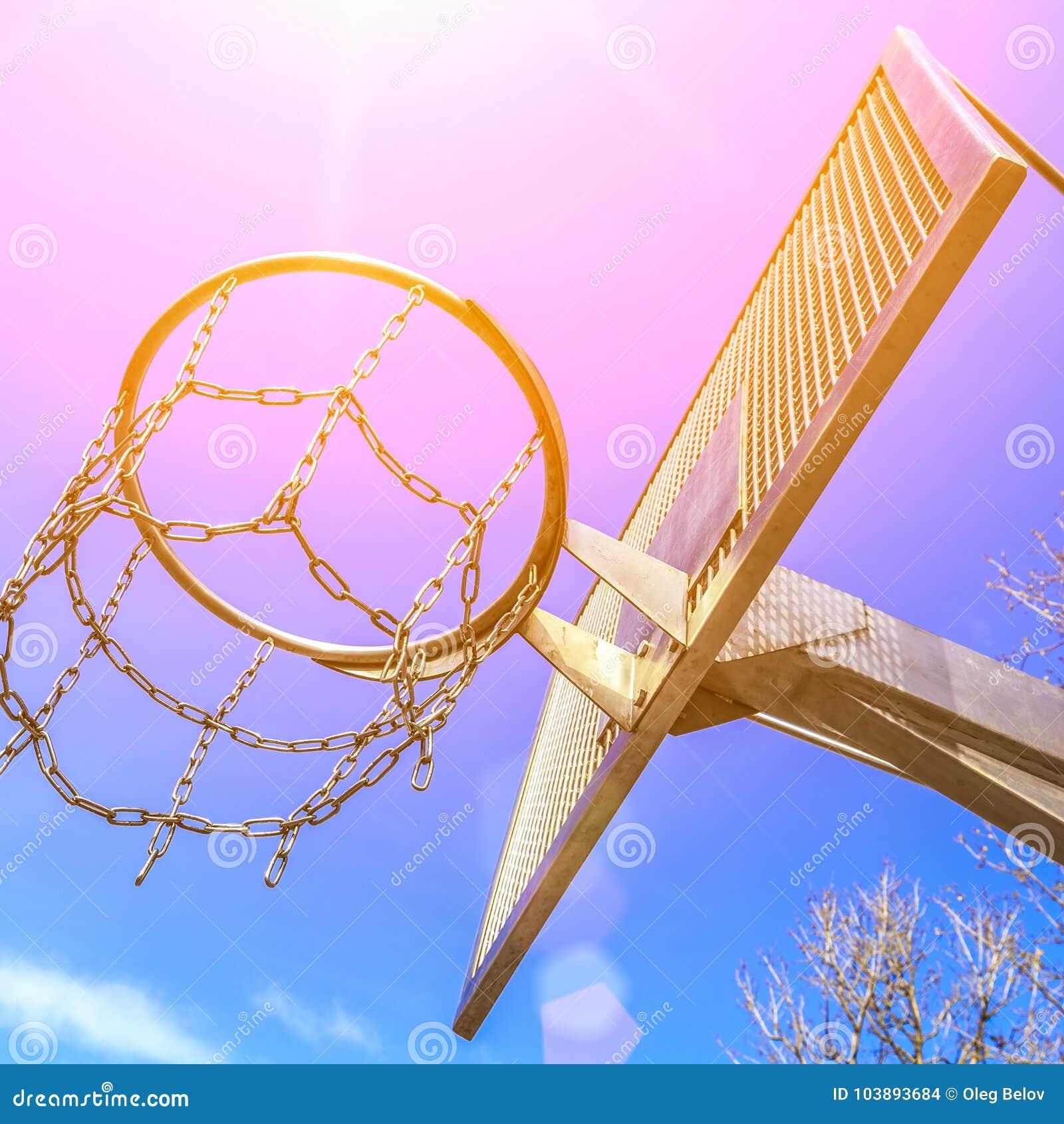 在运动场的现代反艺术品破坏者金属篮球圆环