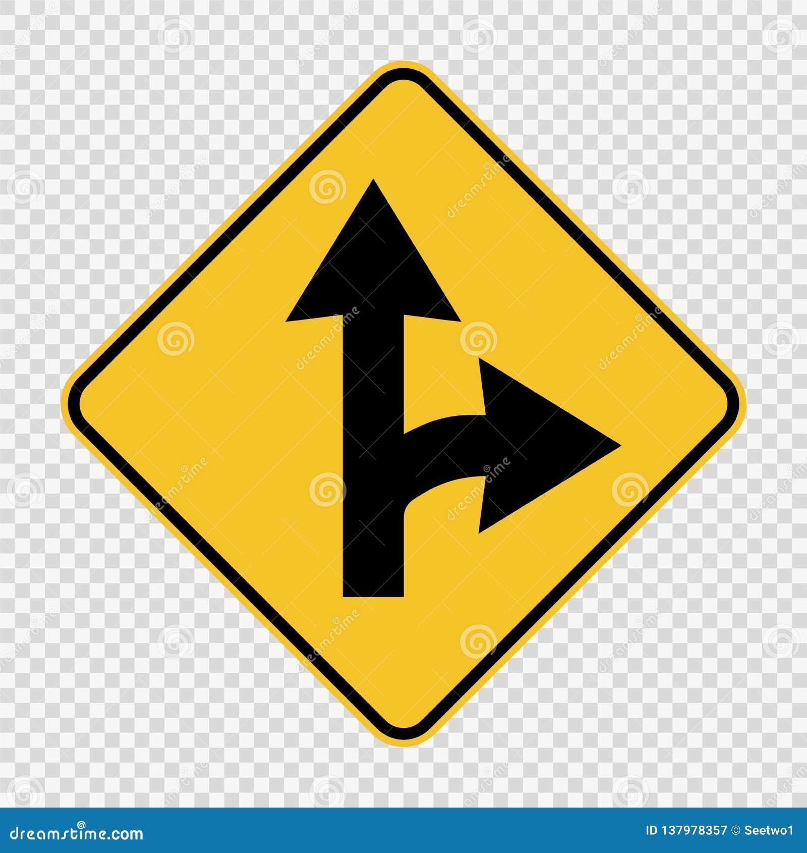 在透明背景的向右转的分裂标志