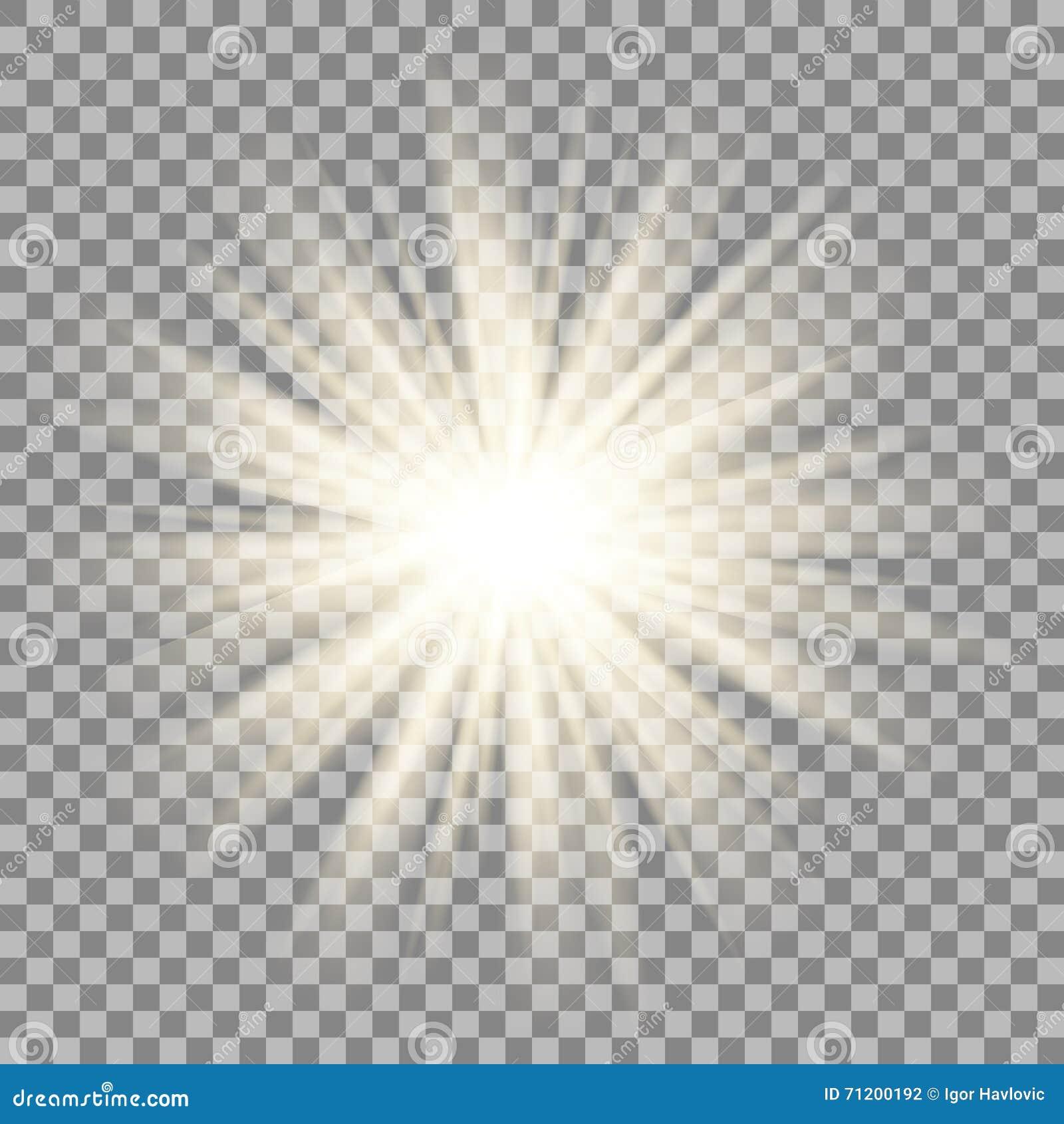 在透明背景的太阳光芒 星火光作用