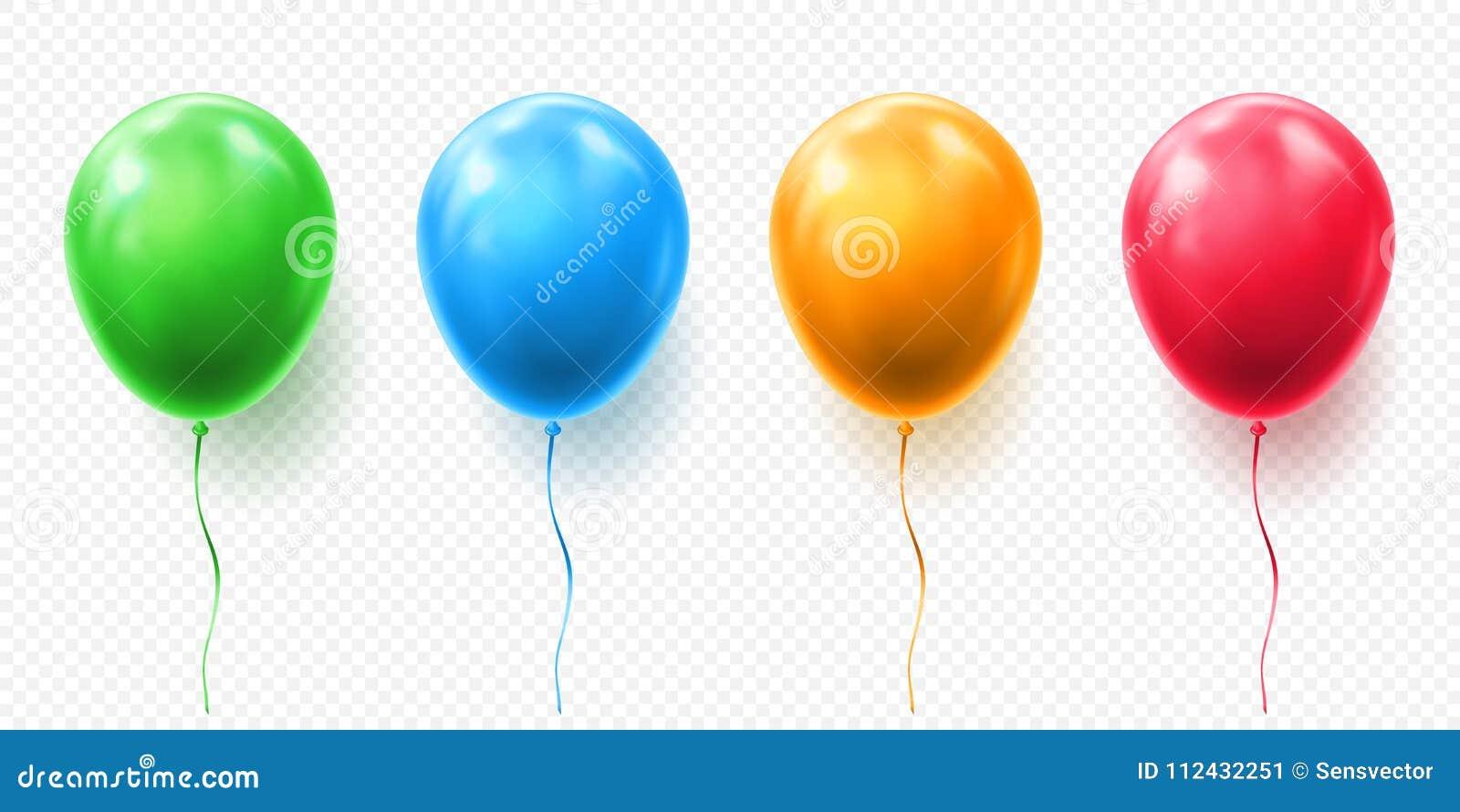 在透明背景的现实红色,橙色,绿色和蓝色气球传染媒介例证 气球为生日