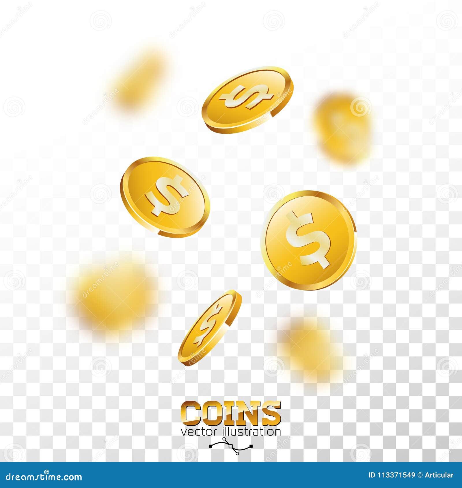 在透明背景的现实金币例证 与美元的符号的落的硬币 传染媒介成功