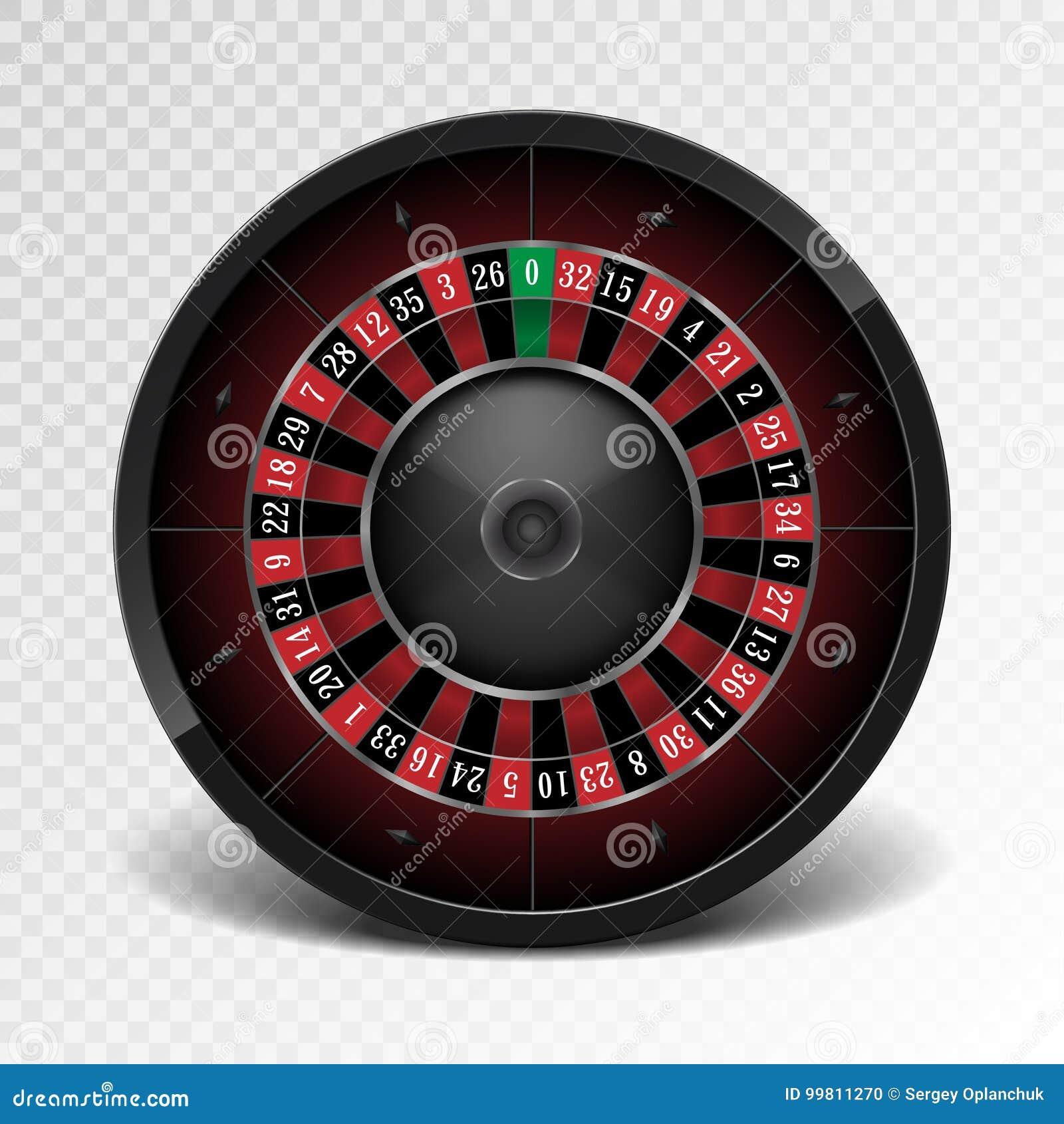 在透明背景的现实黑赌博娱乐场轮盘赌的赌轮 美国赌博的轮盘赌的赌轮 向量