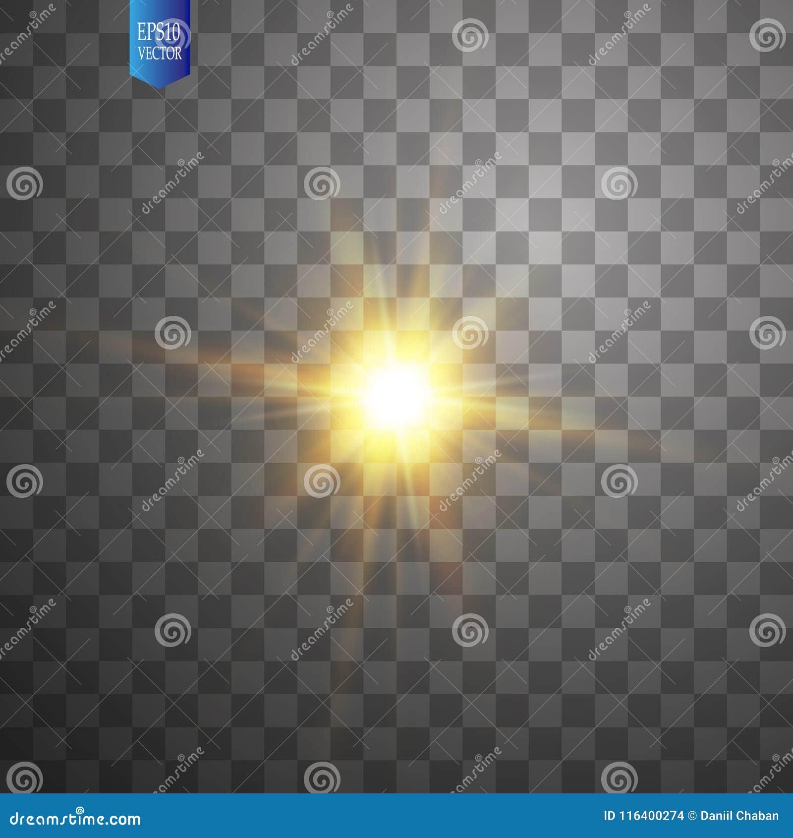 在透明背景的白色发光的轻的爆炸爆炸 传染媒介例证与光芒的光线影响装饰