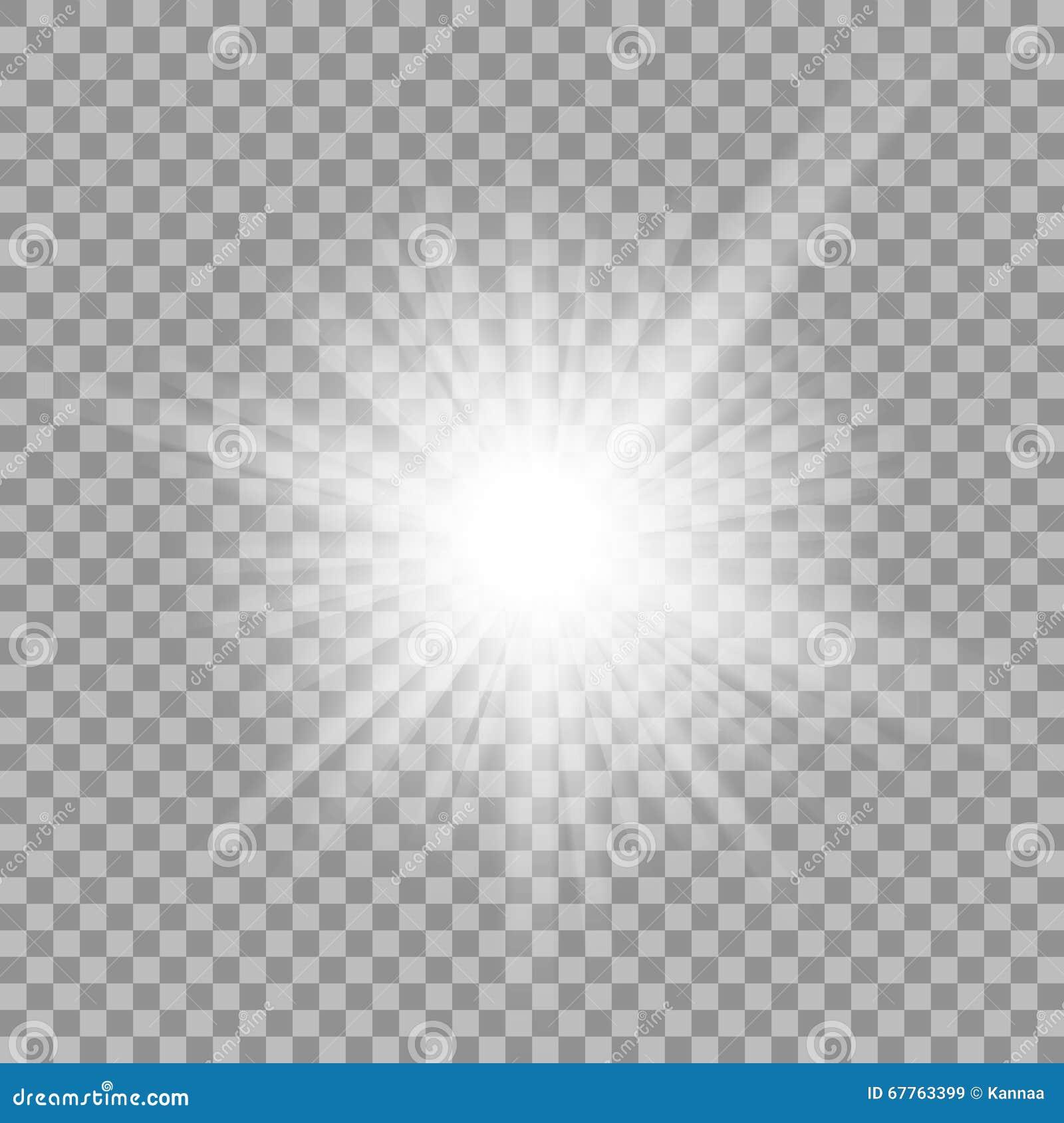 在透明背景的白色发光的轻的爆炸