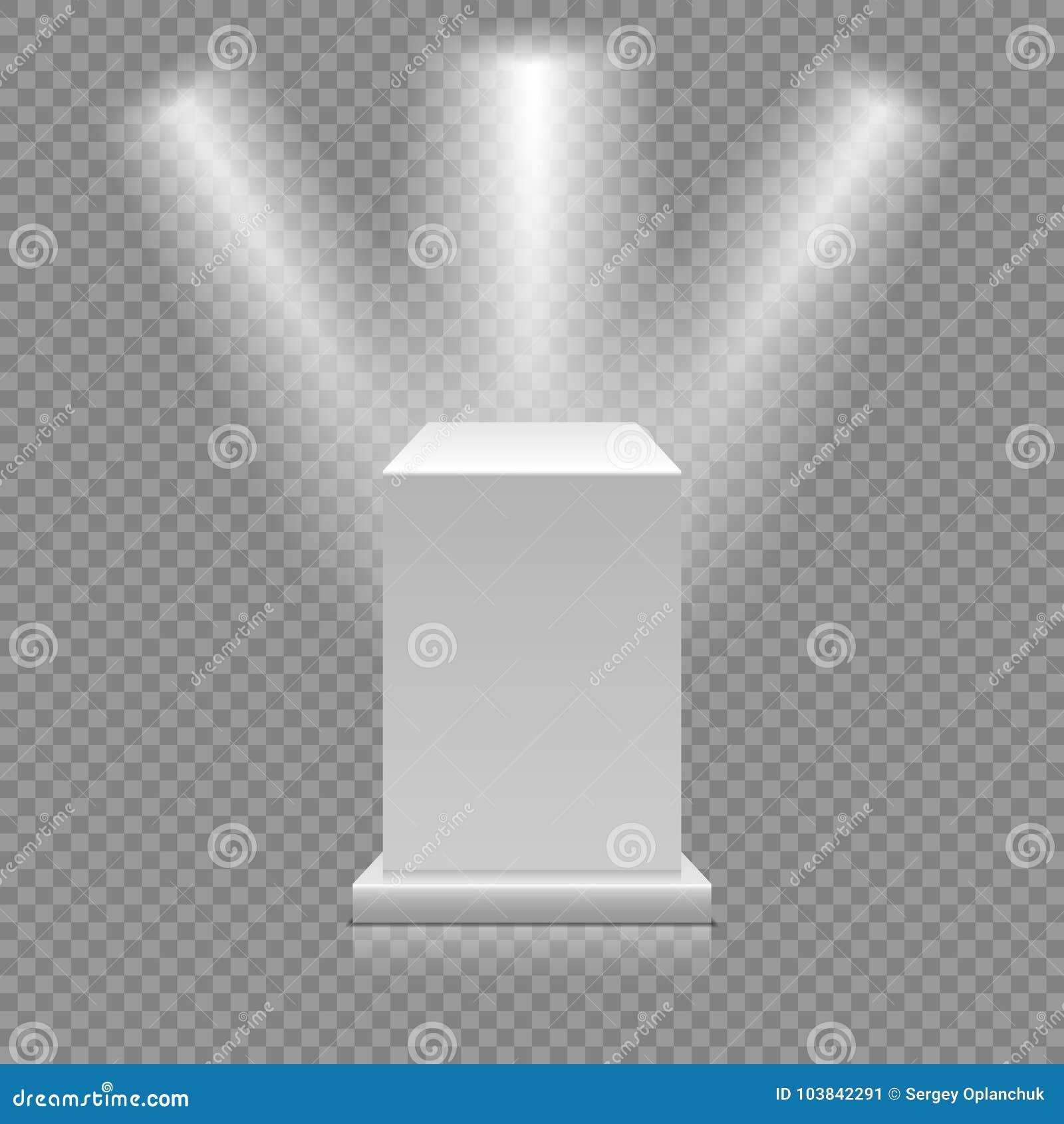 在透明背景的白色空的指挥台 与聚光灯的博物馆垫座 3d例证向量