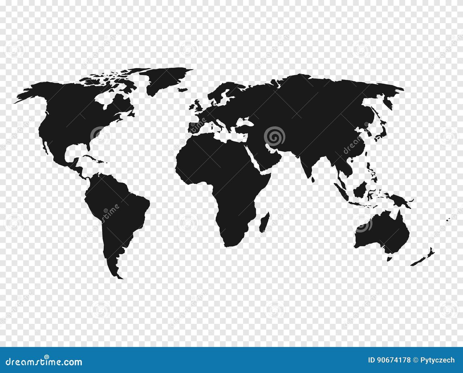 在透明背景的黑世界地图剪影 也corel凹道例证向量