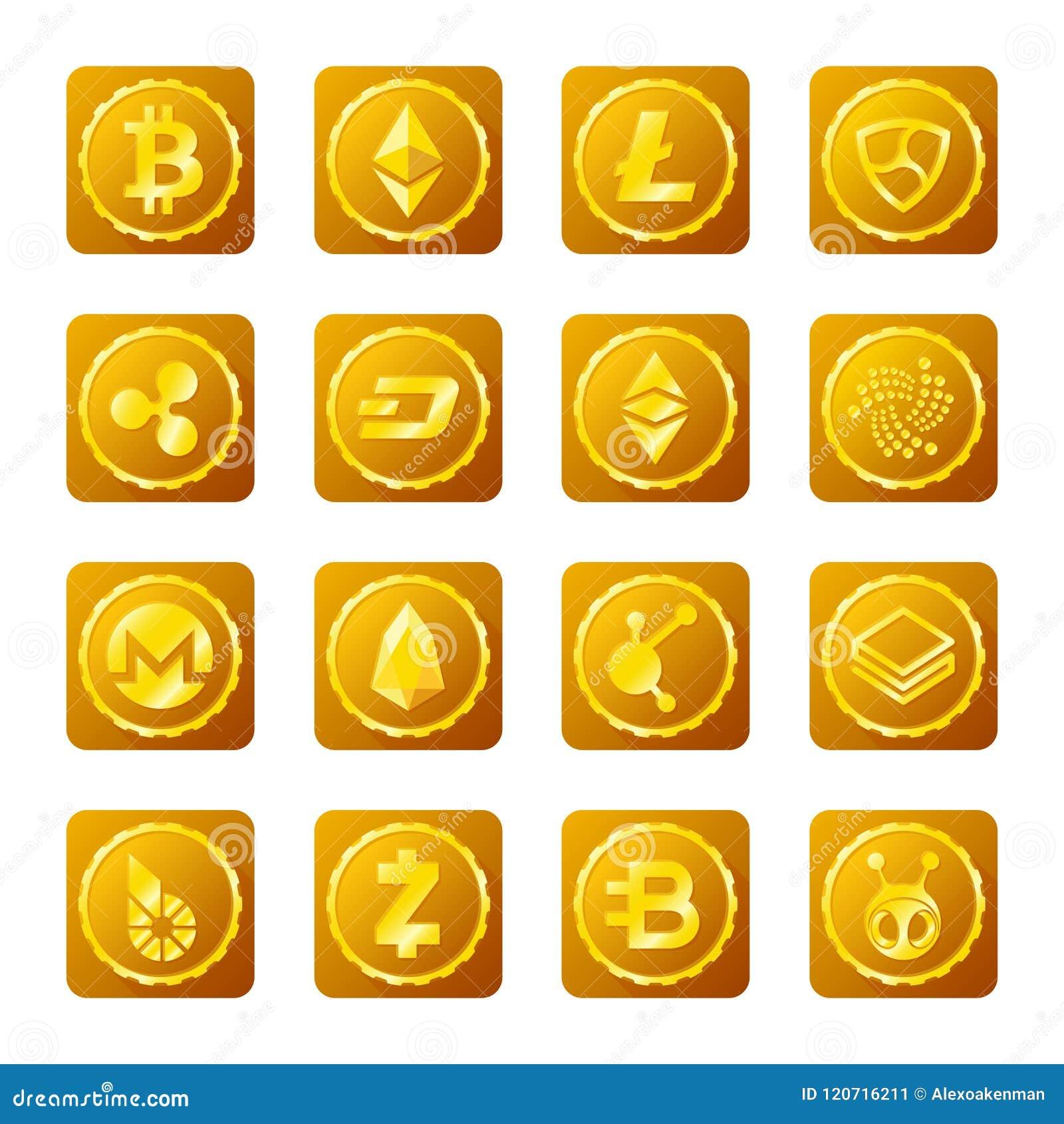 在透明背景设置的主要cryptocurrency标志