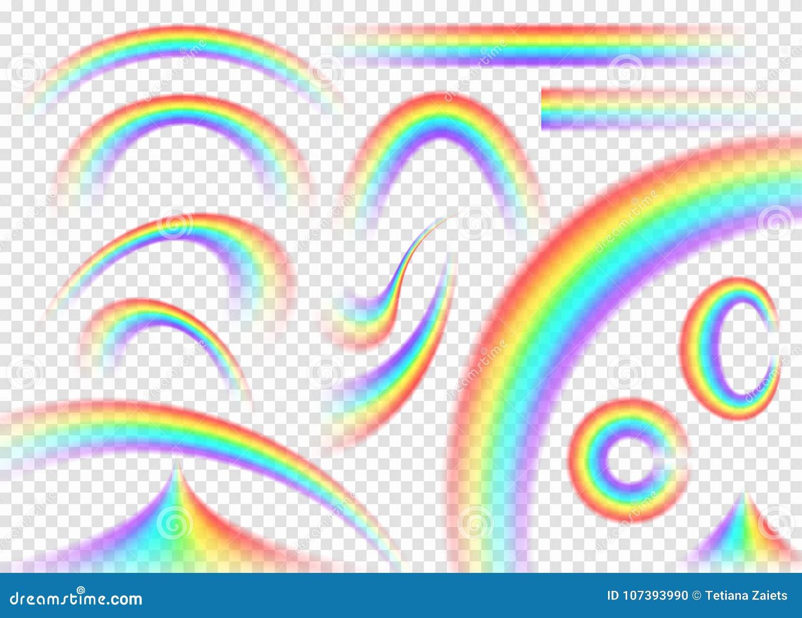 在透明背景设置的彩虹 现实雨曲拱