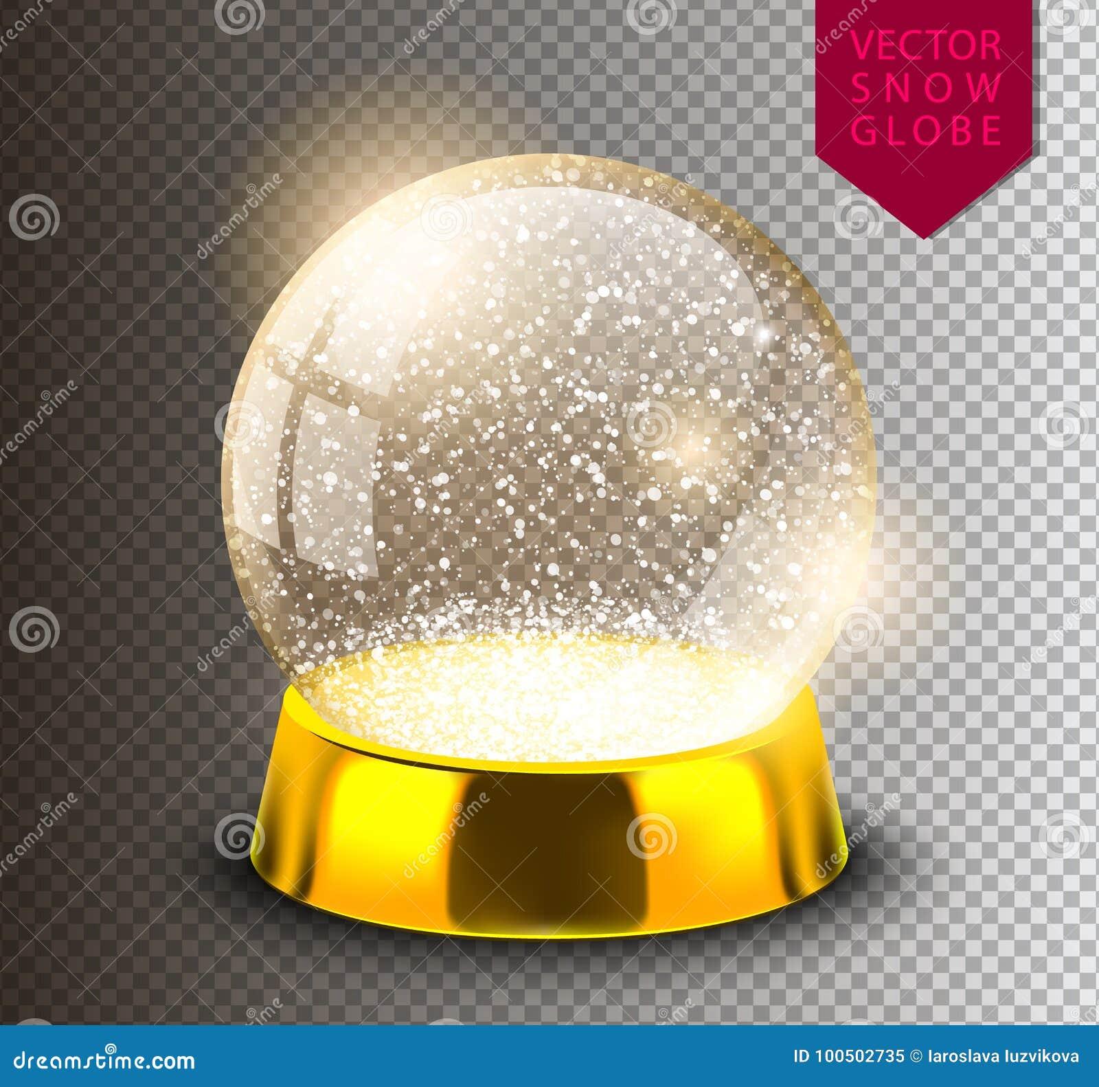 在透明背景隔绝的雪地球空的模板 圣诞节魔术球 现实Xmas snowglobe传染媒介例证