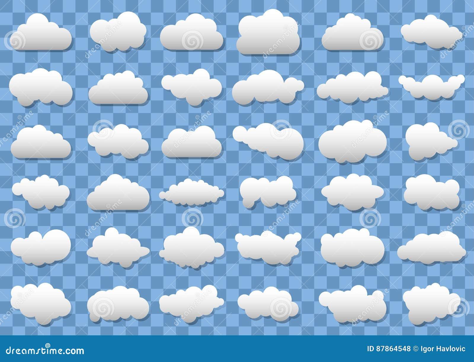 在透明蓝色背景的云彩象 36朵不同传染媒介云彩 向量云彩