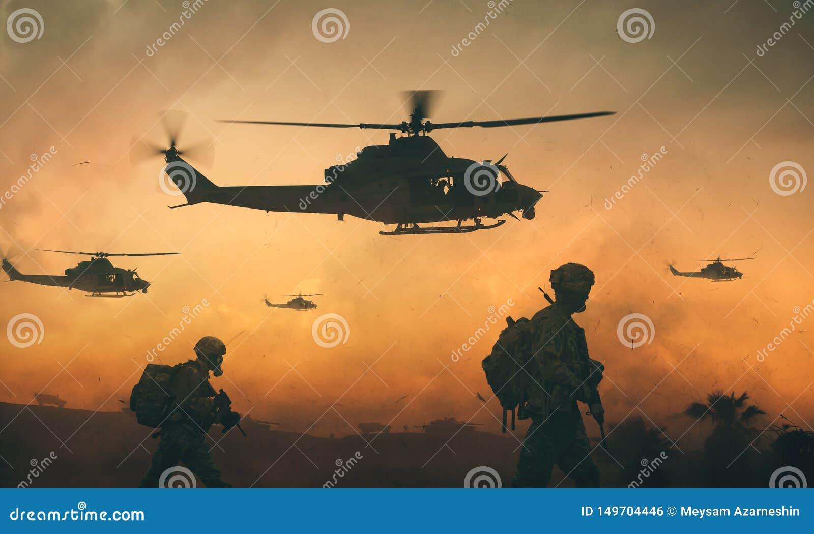 在途中的军事和直升机队伍