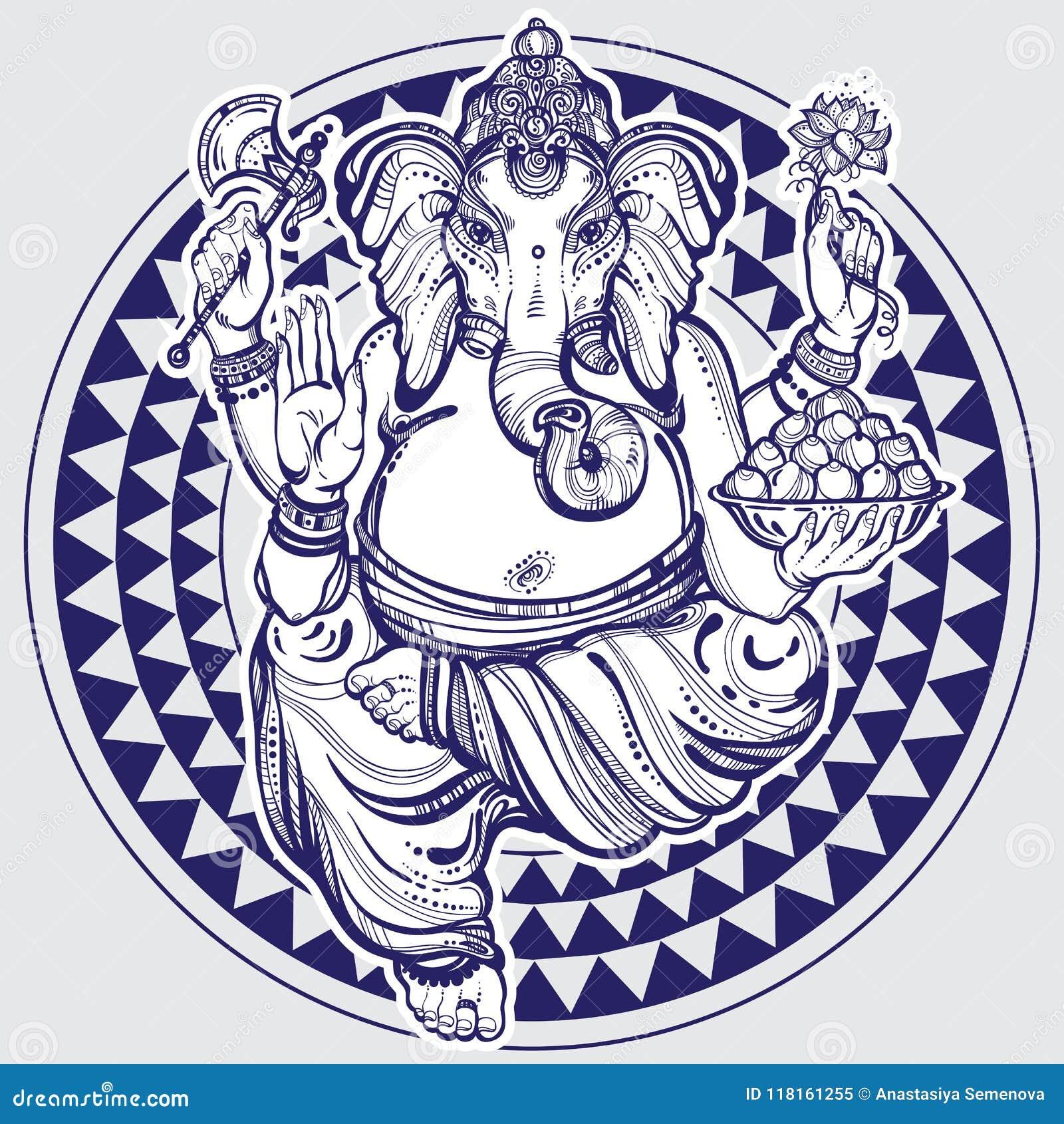 在部族几何样式的手拉的阁下Ganesha 高度被隔绝的详细的美好的传染媒介例证 荧光