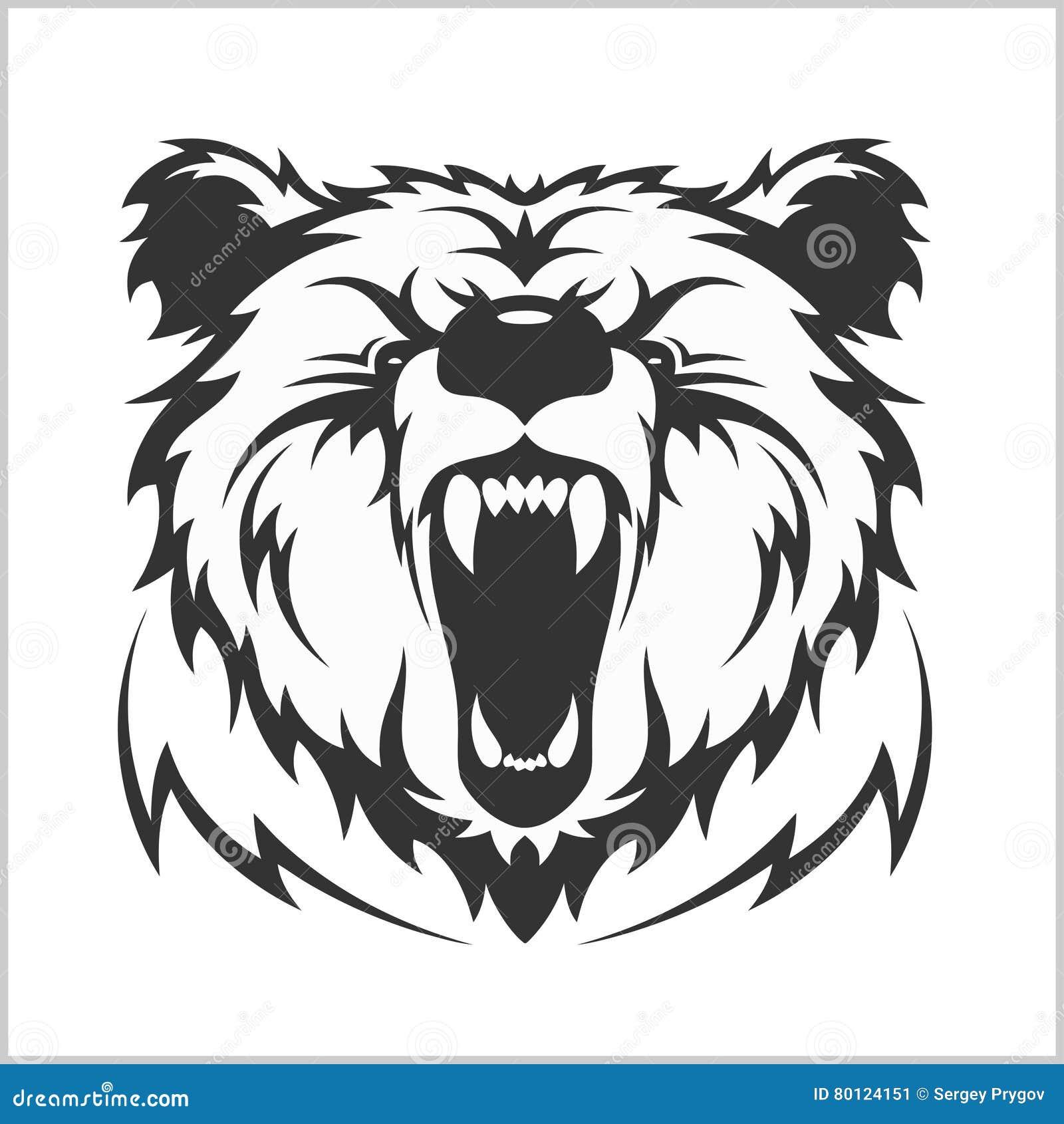 在部族样式的顶头北美灰熊棕熊