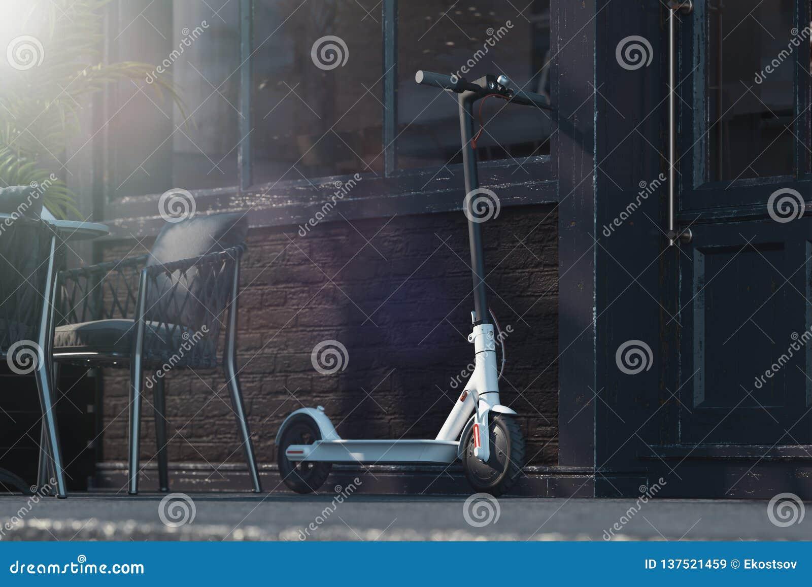在都市风景背景的电滑行车 飞机概念eco运输 3d翻译