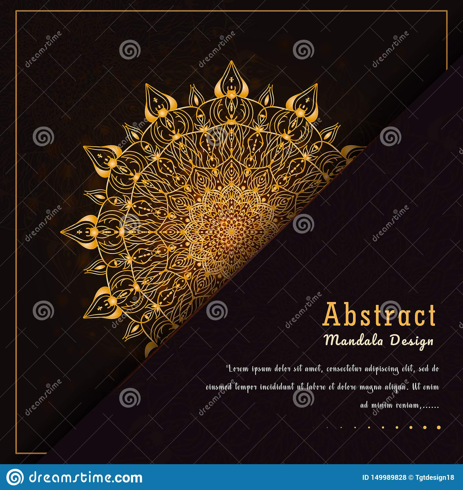 在金子颜色的传染媒介豪华装饰坛场设计背景