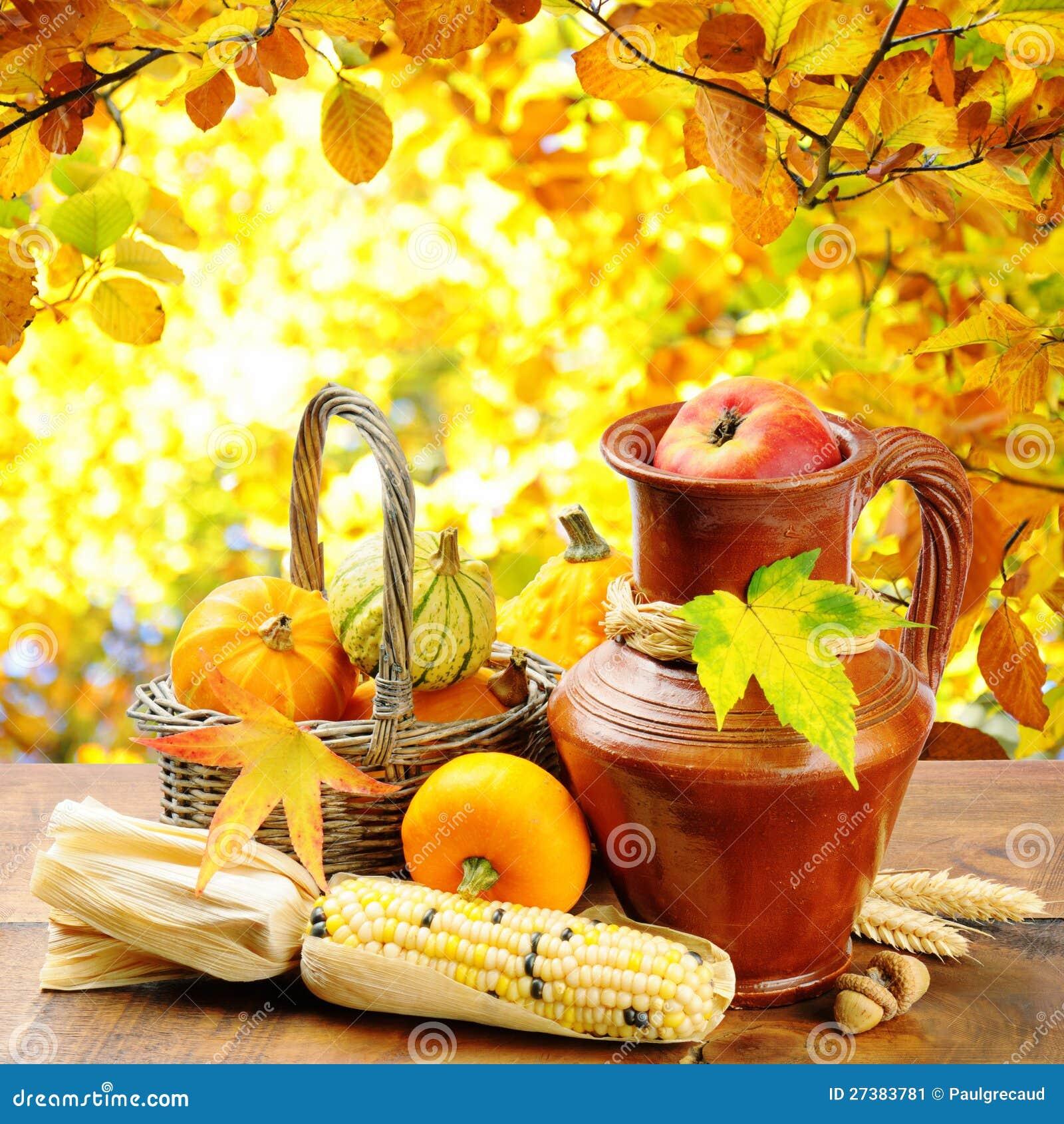 在金黄森林背景的秋天蔬菜