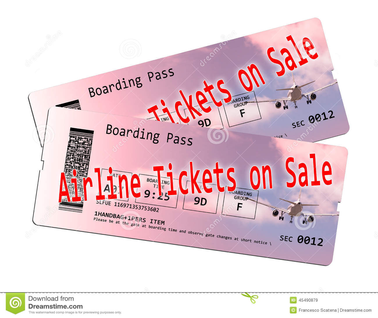 在销售中的飞机票