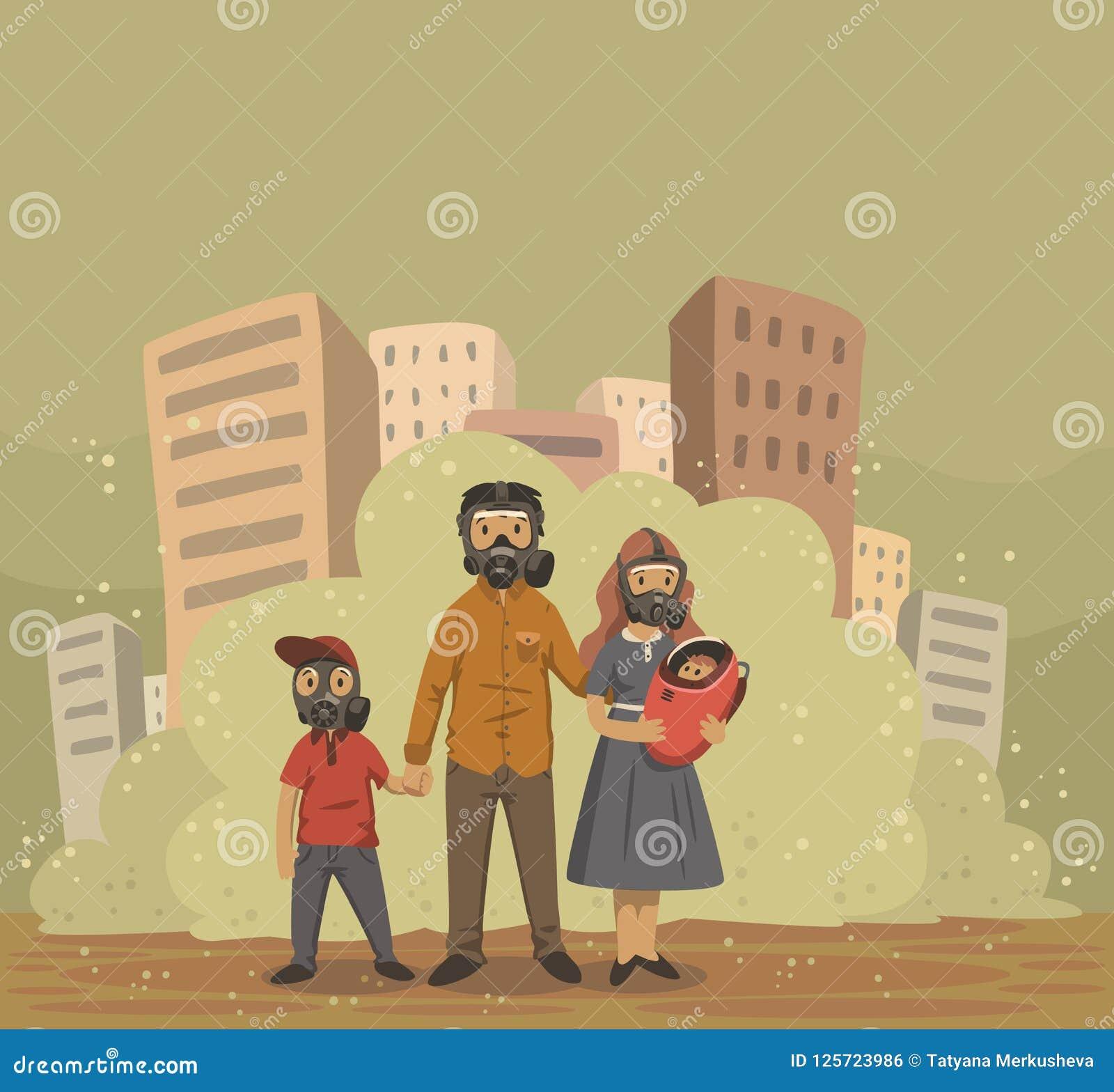 在防毒面具的家庭在烟雾城市背景 环境问题,大气污染 平的传染媒介例证
