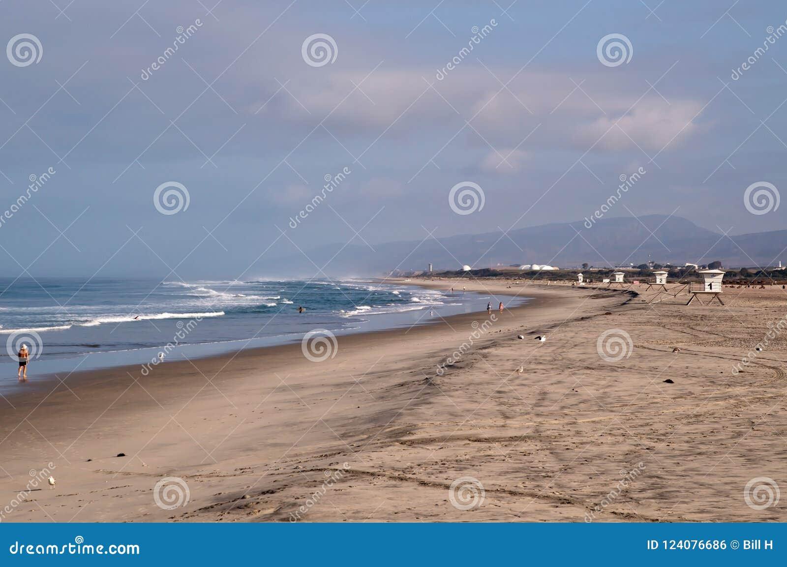 在阵营南的Pendelton的太平洋海滩