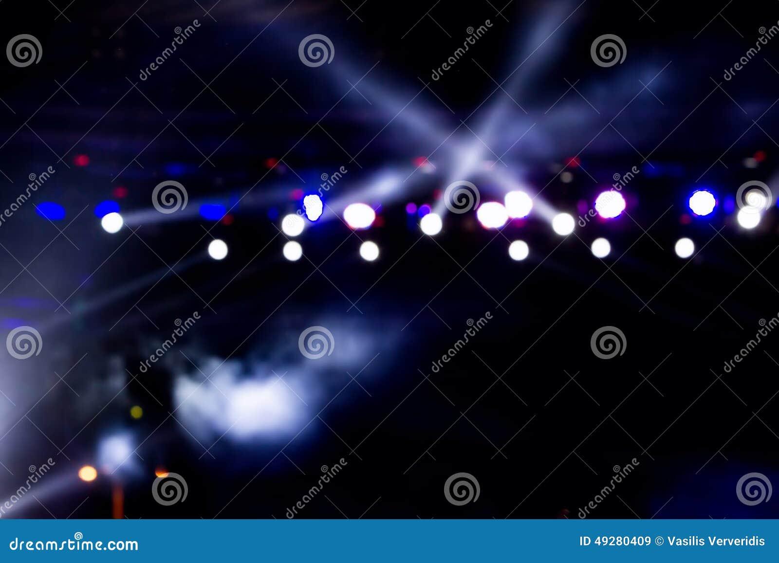 在阶段, bokeh的Defocused娱乐音乐会照明设备