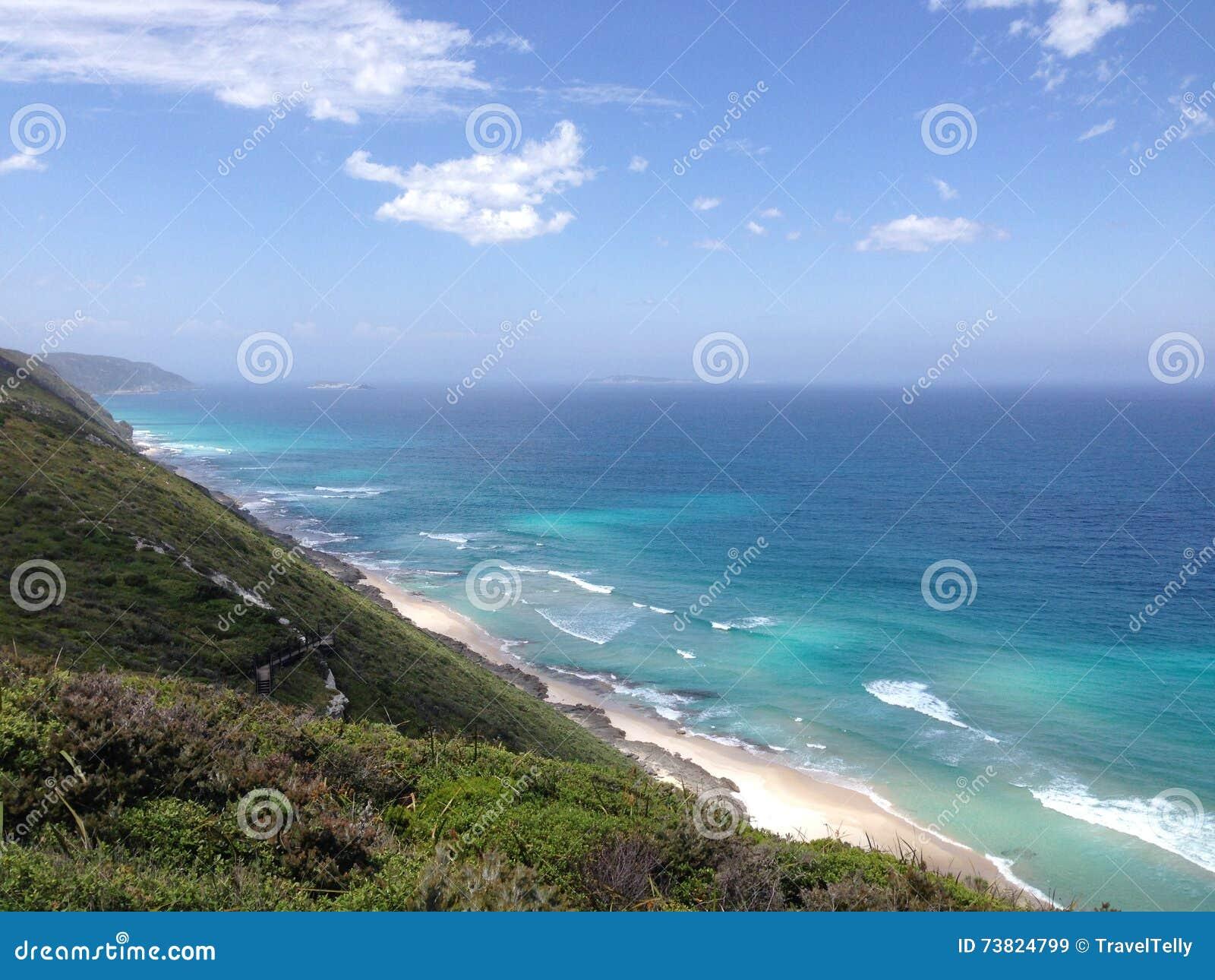 在阿尔巴尼风力场旁边的蓝色海洋