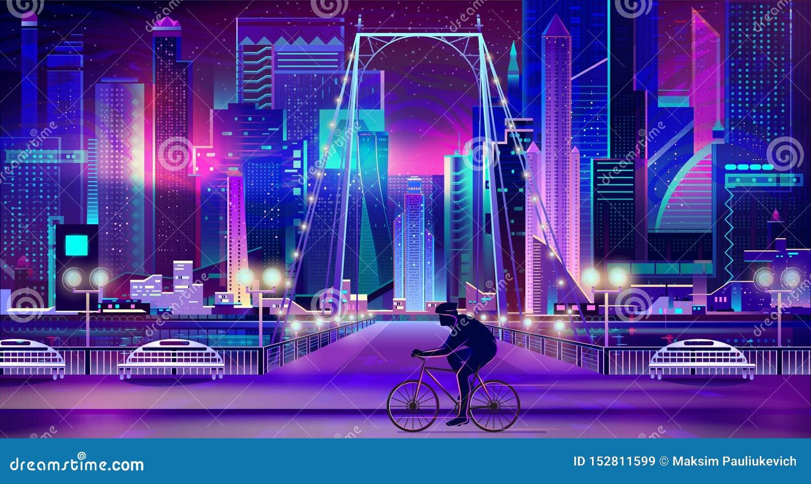 在附近的城市堤防动画片传染媒介的骑自行车者