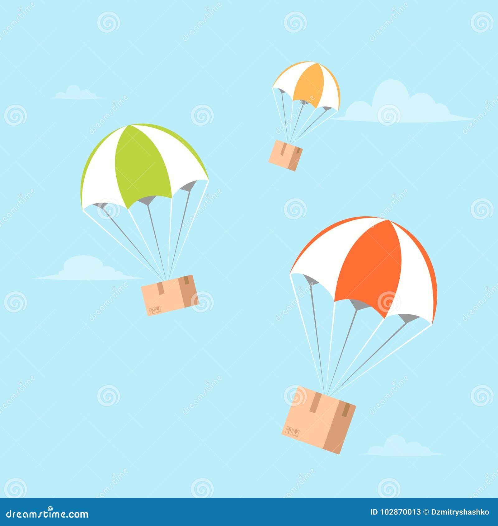 在降伞的包裹飞行 空气运输