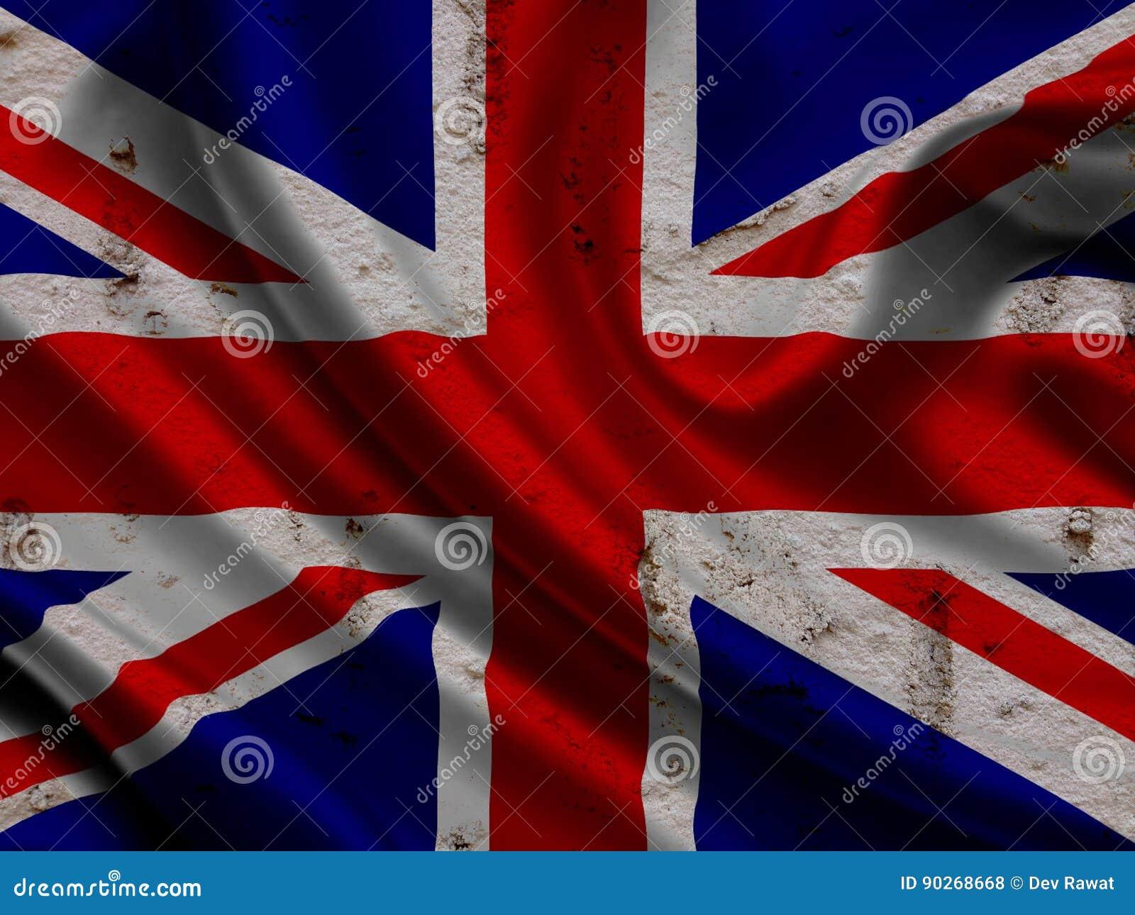 在难看的东西墙壁背景的英国旗子