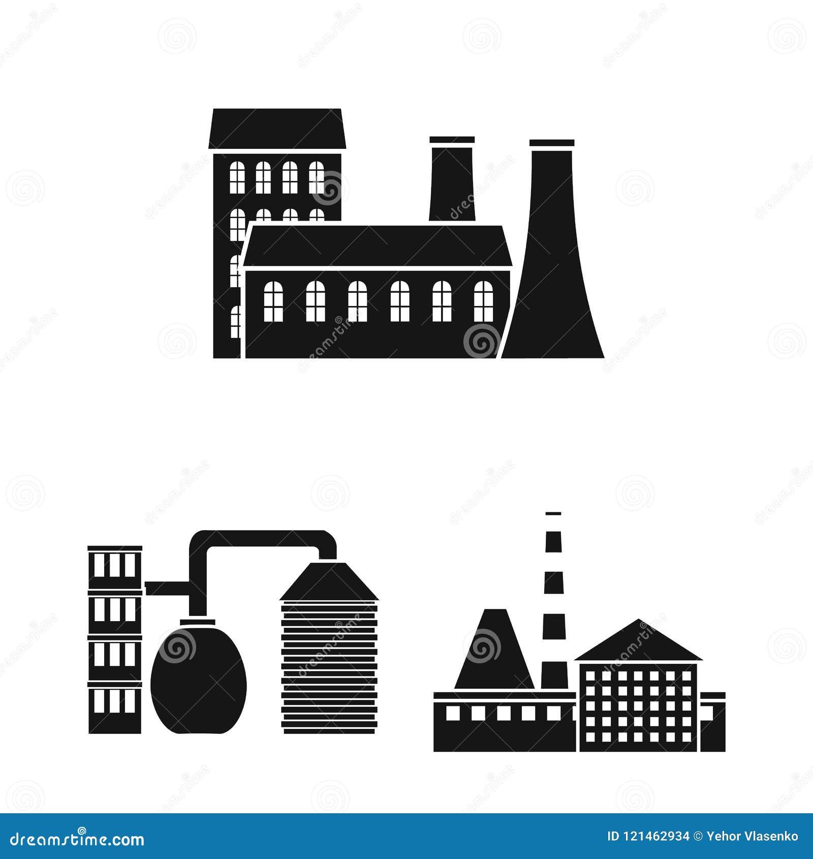 在集合汇集的工厂和设施黑象的设计 工厂和设备传染媒介标志股票网图片