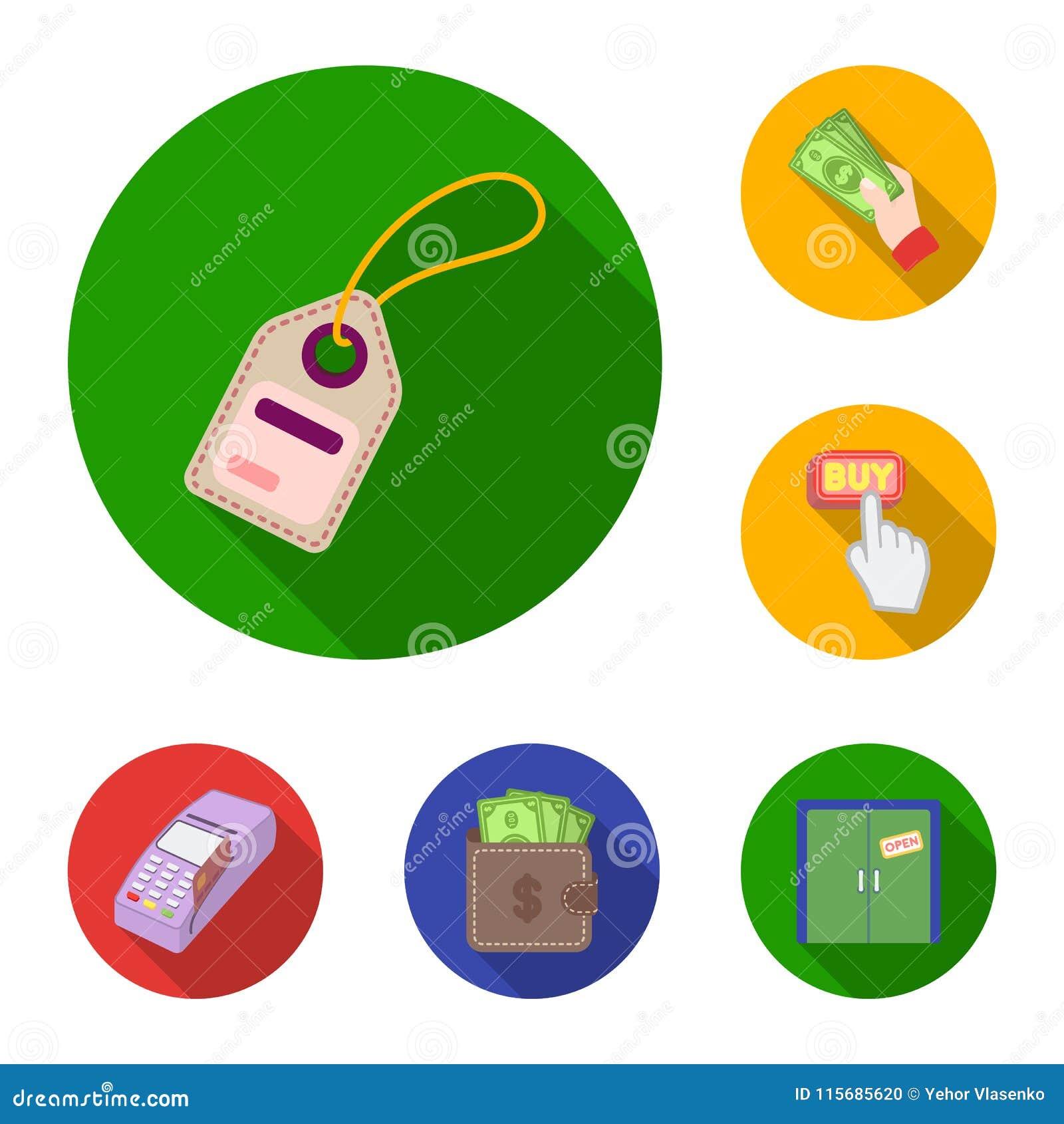 在集合汇集的电子商务、购买和销售平的象的设计 商业和财务传染媒介标志股票网