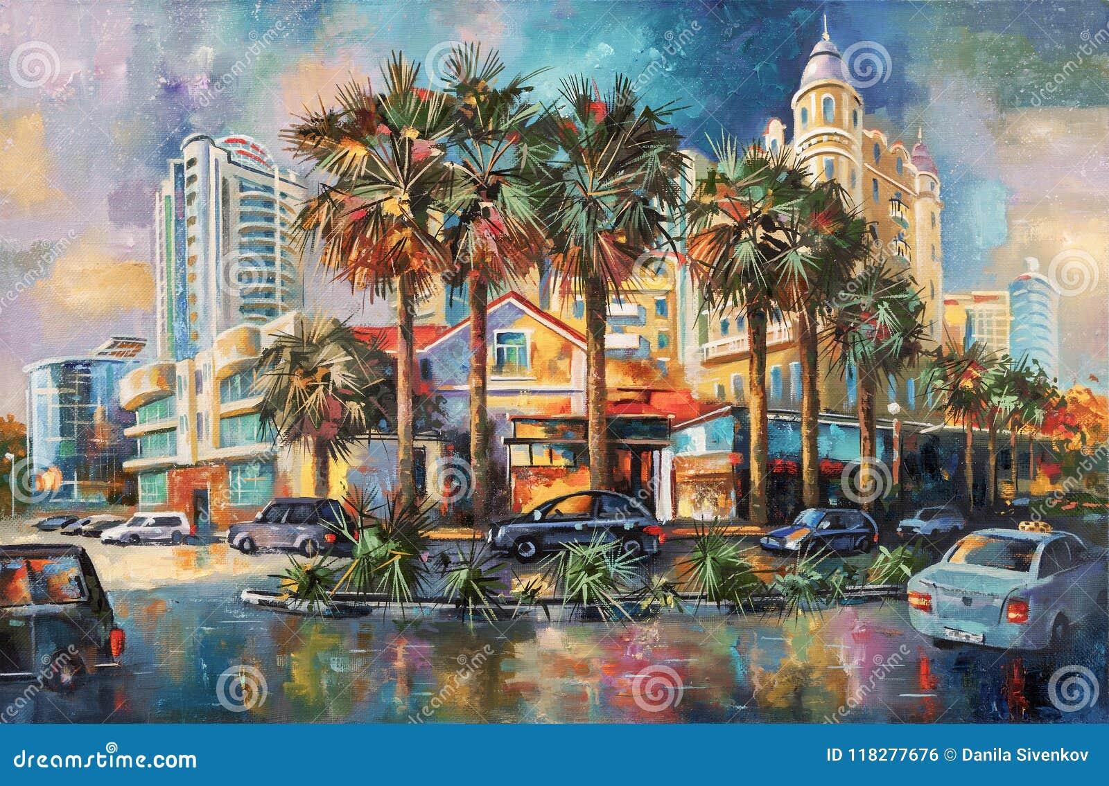在雨以后的街道 索契 在帆布的一幅油画