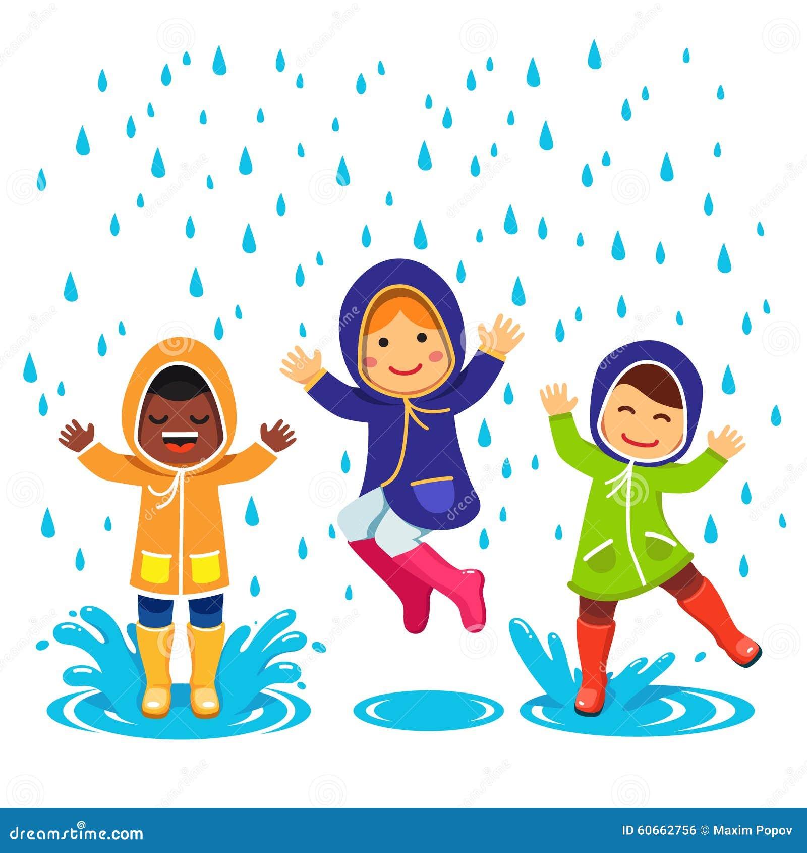 在使用在雨中的雨衣和胶靴的孩子 跳和飞溅通过水坑的孩子 在白色背景图片