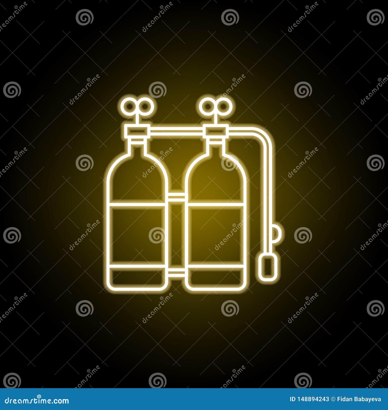 在霓虹样式的氧气瓶象 E