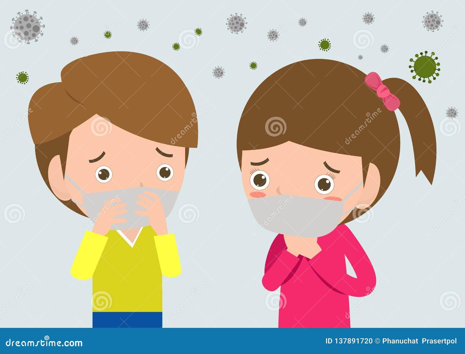 在面具的孩子由于美好的尘土,反对烟雾的男孩和女孩佩带的面具 美好的尘土,空气污染,工业烟雾保护c