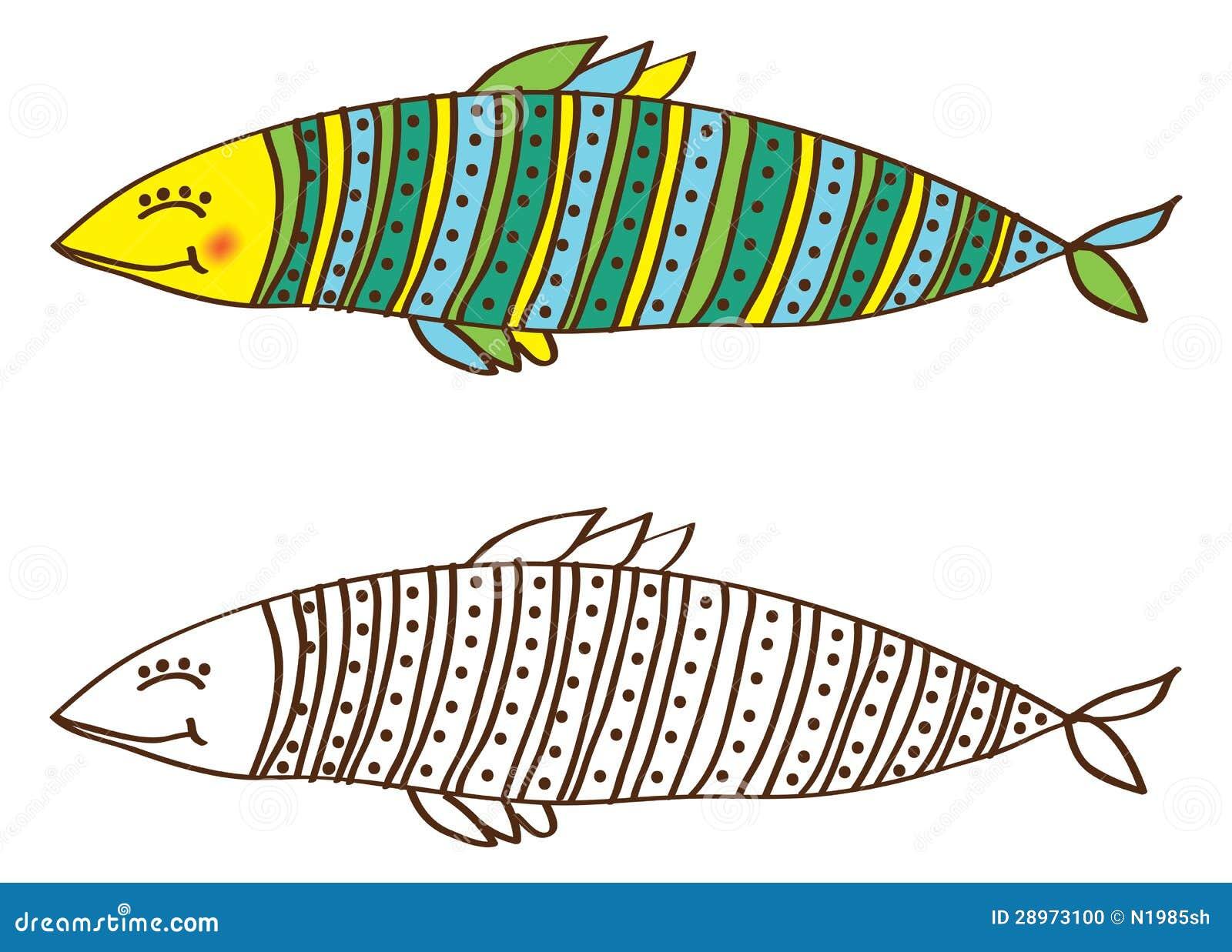 在颜色和分级显示的逗人喜爱的鱼