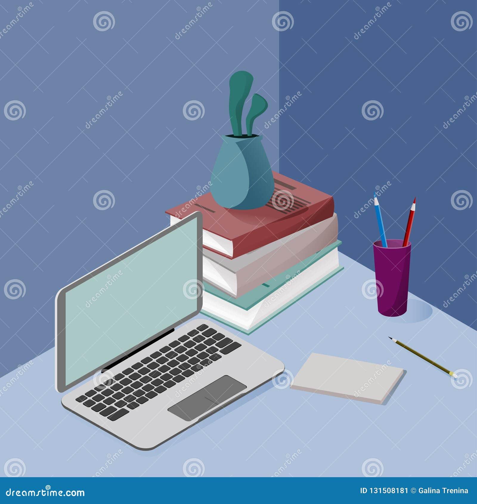 在颜色的三维等量图片,关于学校,事务,科学,训练 描述一台膝上型计算机