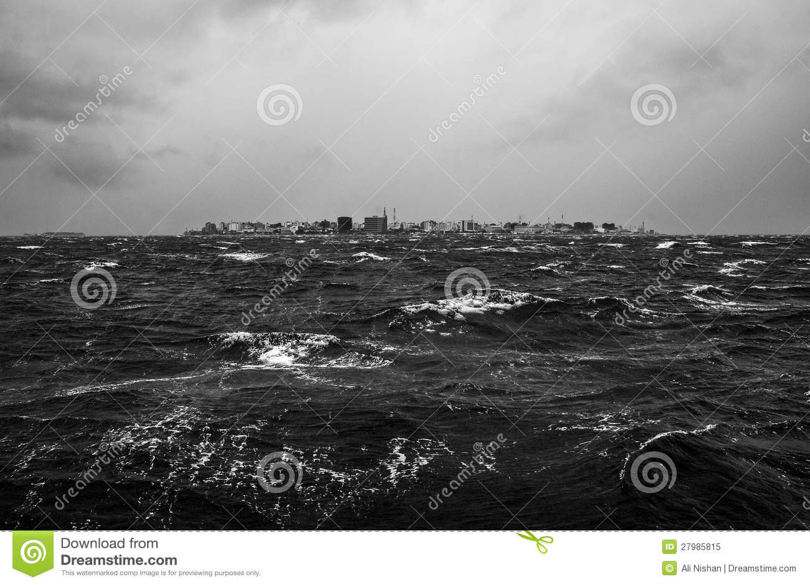 在马尔代夫islans的热带季风风暴
