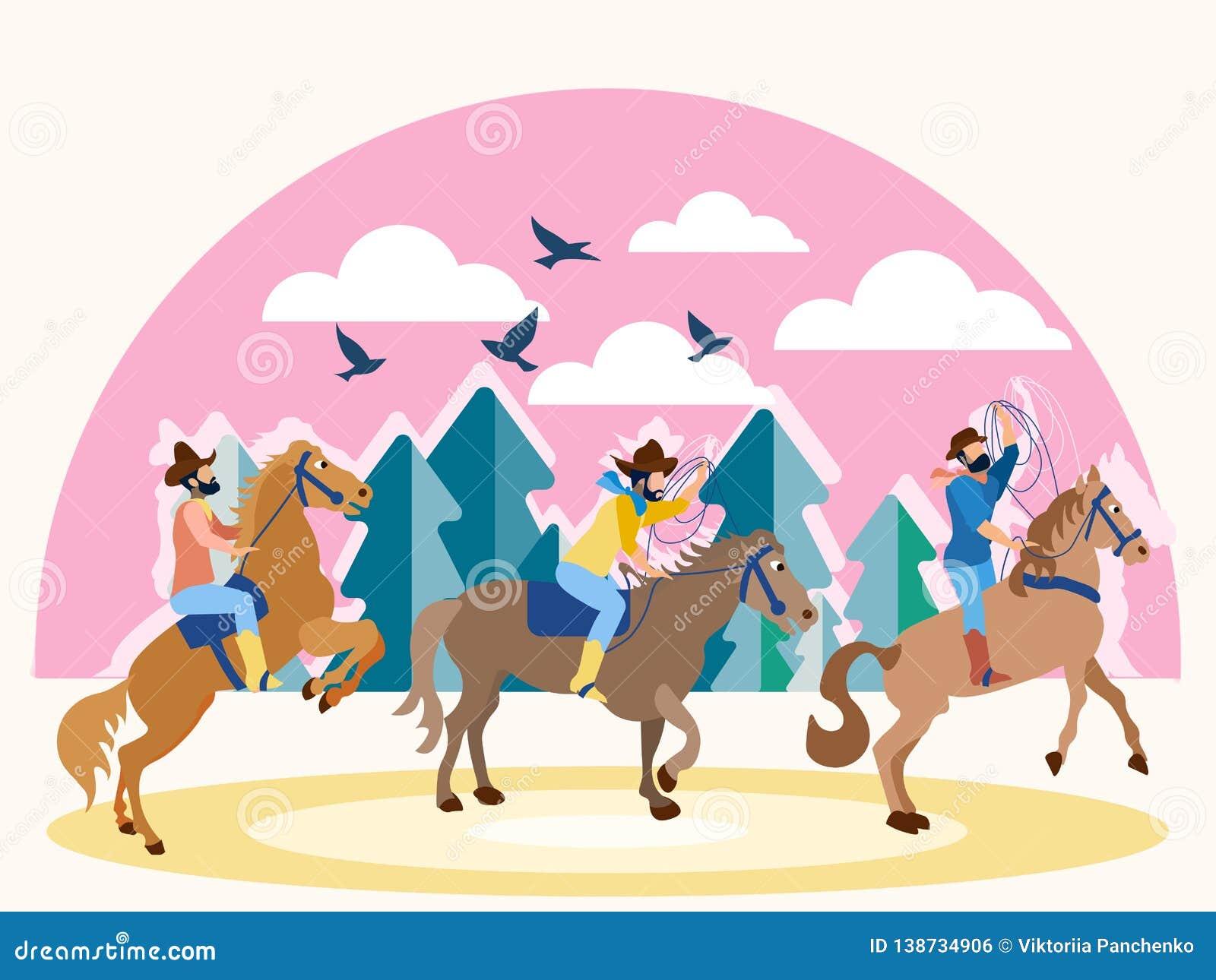 在马背上三位牛仔在得克萨斯 在最低纲领派样式 平的等量传染媒介