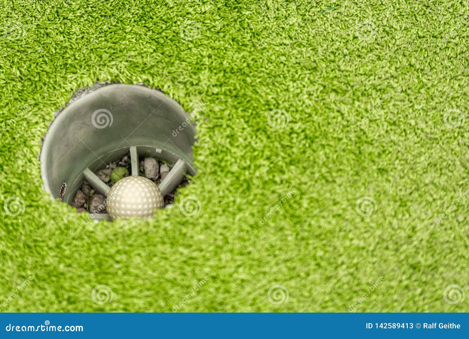 在高尔夫球的被淹没的球在绿色的孔在