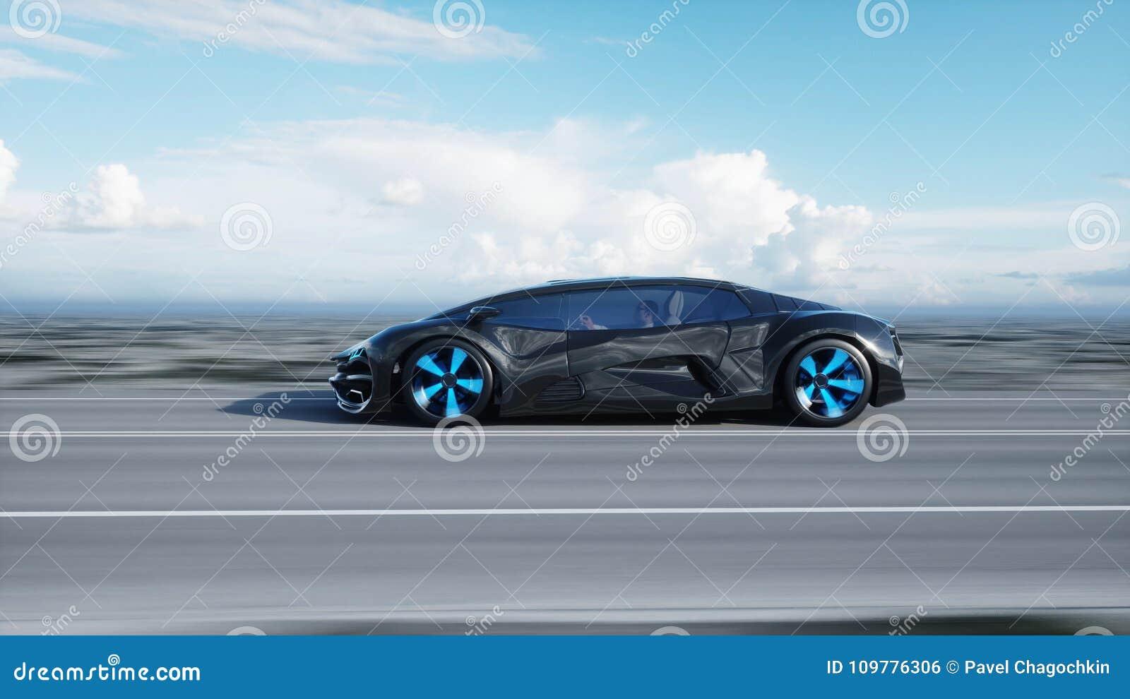 在高速公路的黑未来派电车在沙漠 非常快速驾驶 未来的概念 3d翻译