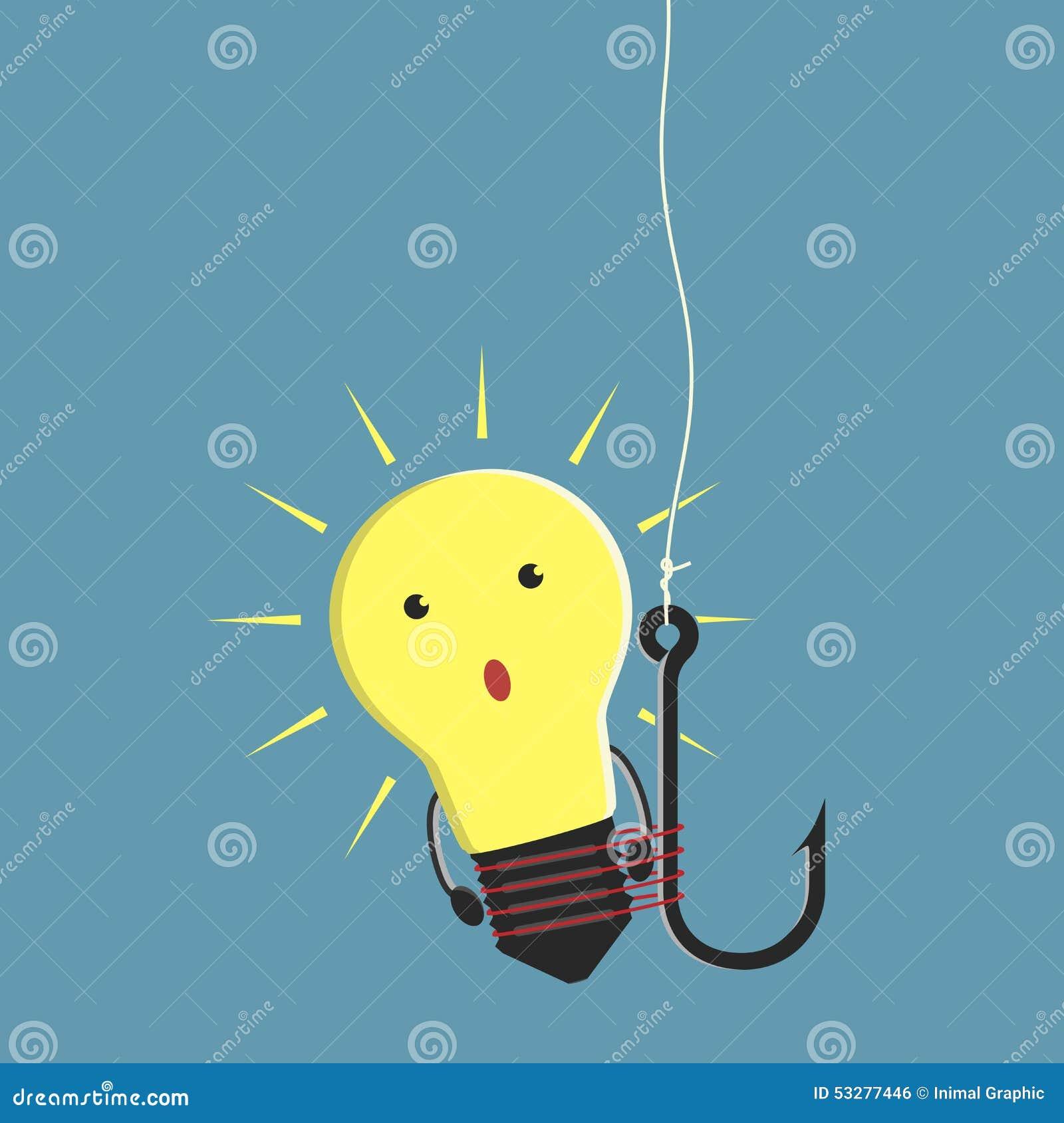 发光的电灯泡字符栓了对钓鱼钩,想法,起动,投资和投资者概念 eps 10图片