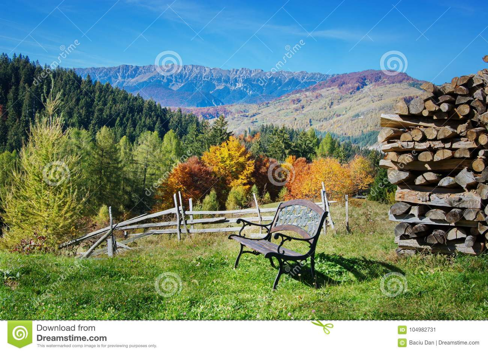 在麸皮,特兰西瓦尼亚,布拉索夫,小山的罗马尼亚的Autum风景