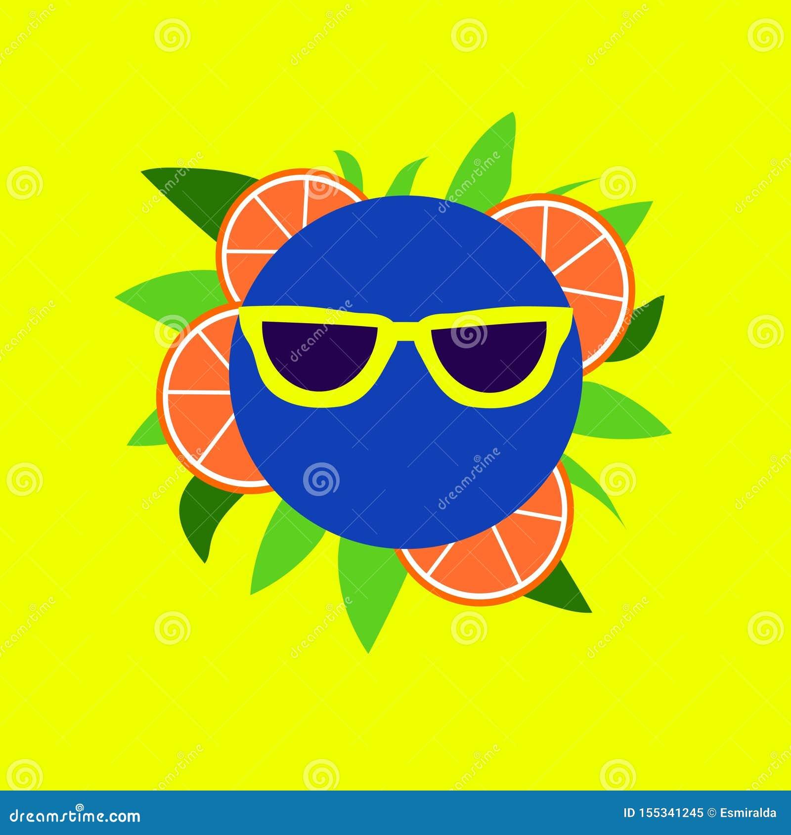 在黄色太阳镜的果子滑稽的面带笑容
